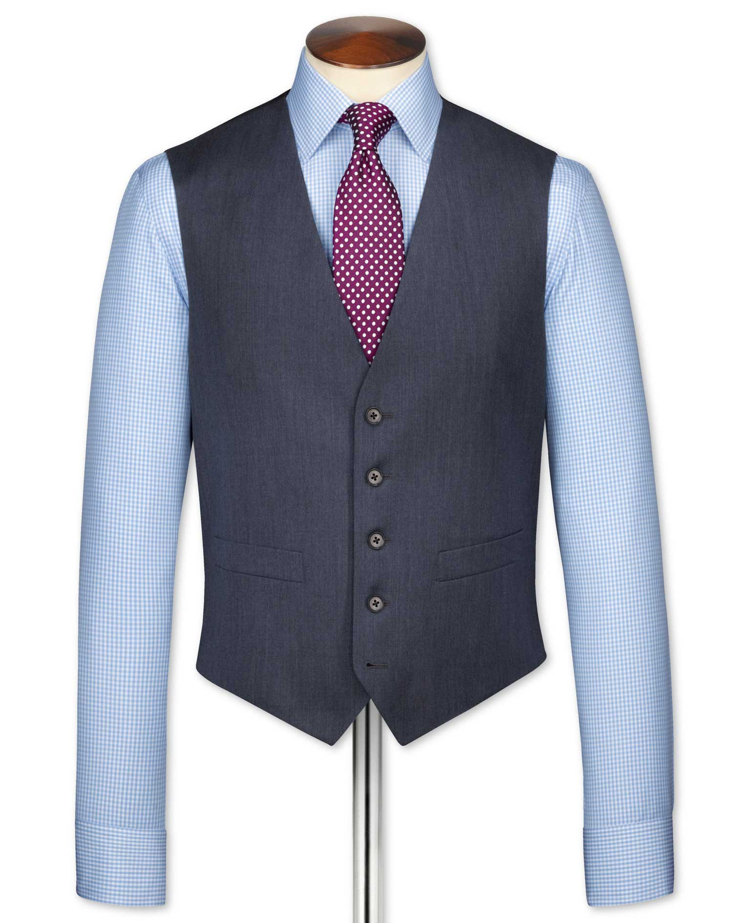 Airforce Blue Twill Business Suit Wool Waistcoat Size w40 by Charles Tyrwhitt