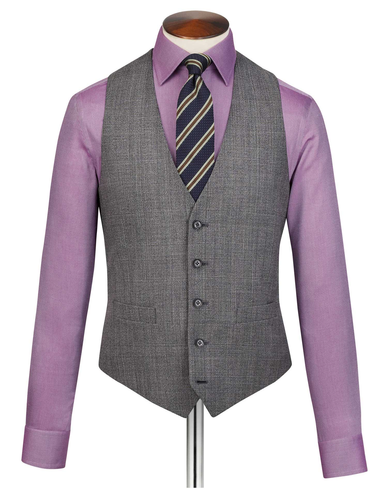Grey Adjustable Fit Jaspe Check Business Suit Wool Waistcoat Size w40 by Charles Tyrwhitt