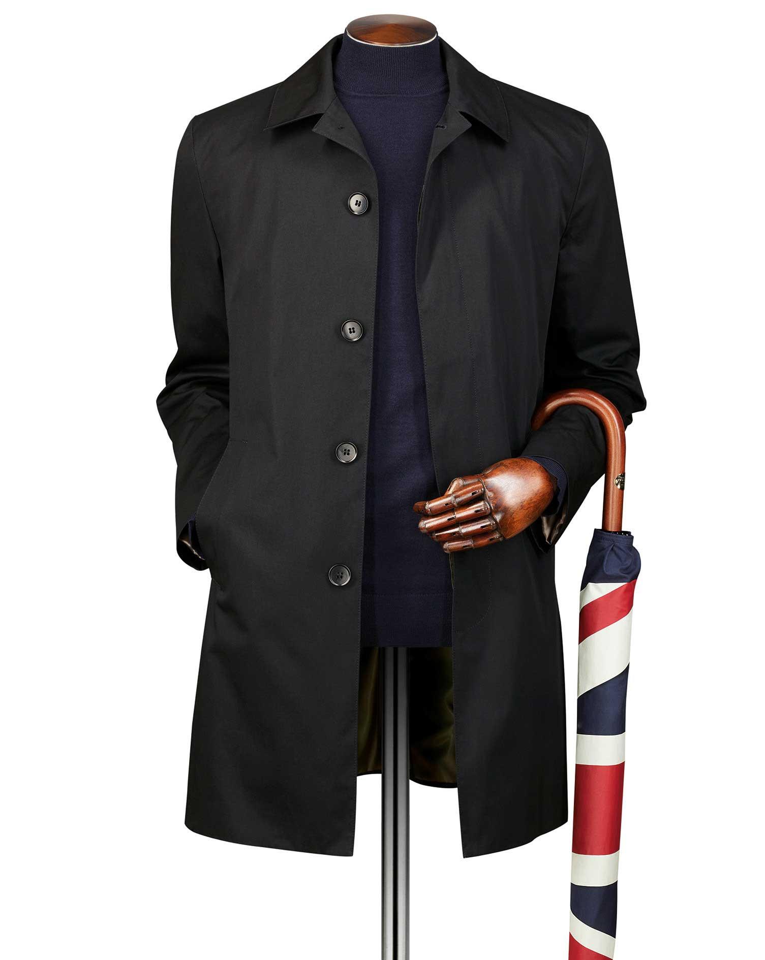 Black Cotton Raincoat Size 42 Regular by Charles Tyrwhitt