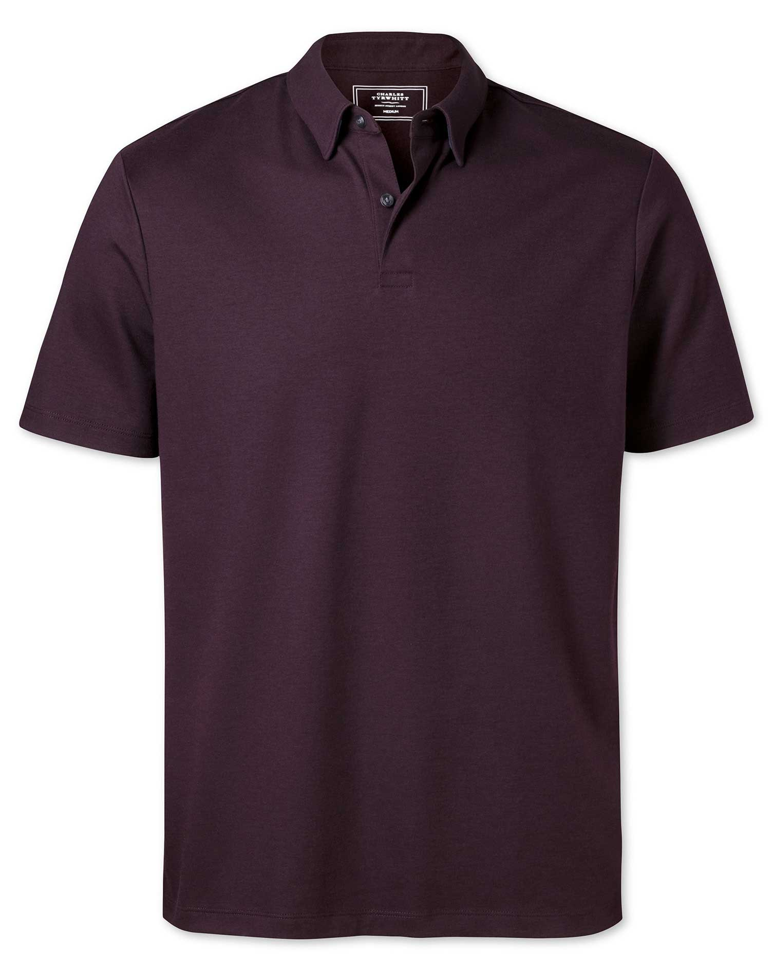 Plain Burgundy Jersey Cotton Polo Size Large by Charles Tyrwhitt