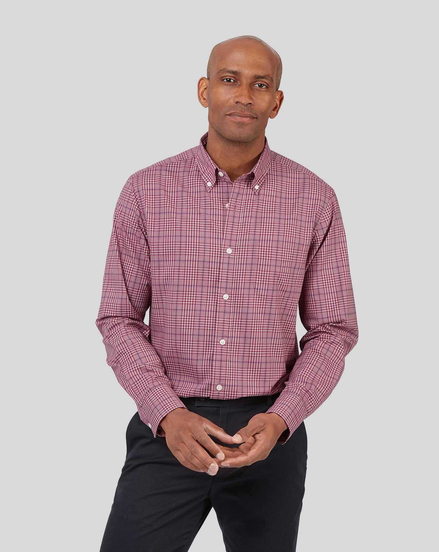 Image of Charles Tyrwhitt Button-Down Collar Non-Iron Stretch Poplin Large Check Cotton Shirt - Berry Single Cuff Size Medium by Charles Tyrwhitt
