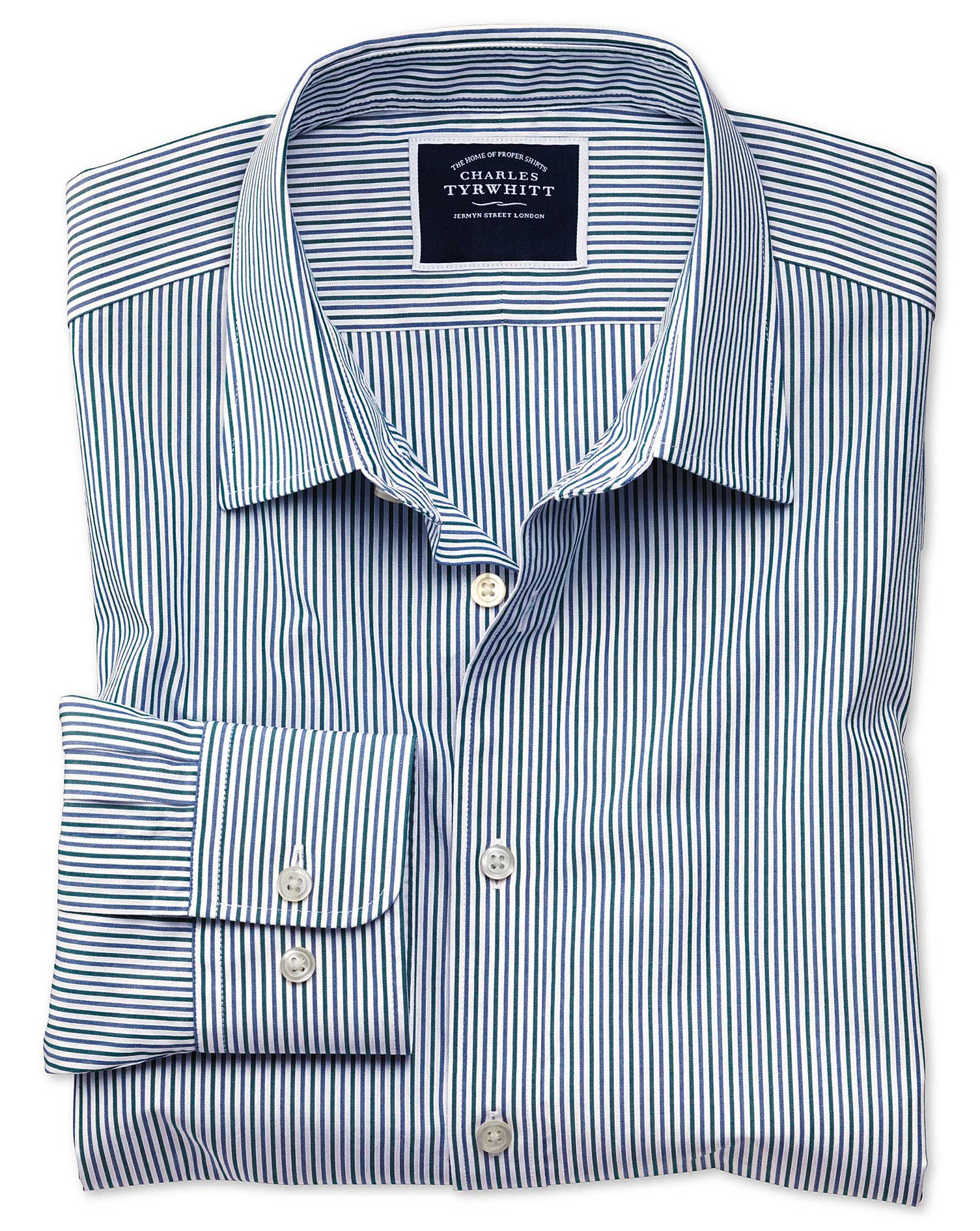 Slim Fit Blue and Green Stripe Soft Washed Cotton Shirt Single Cuff Size Large by Charles Tyrwhitt