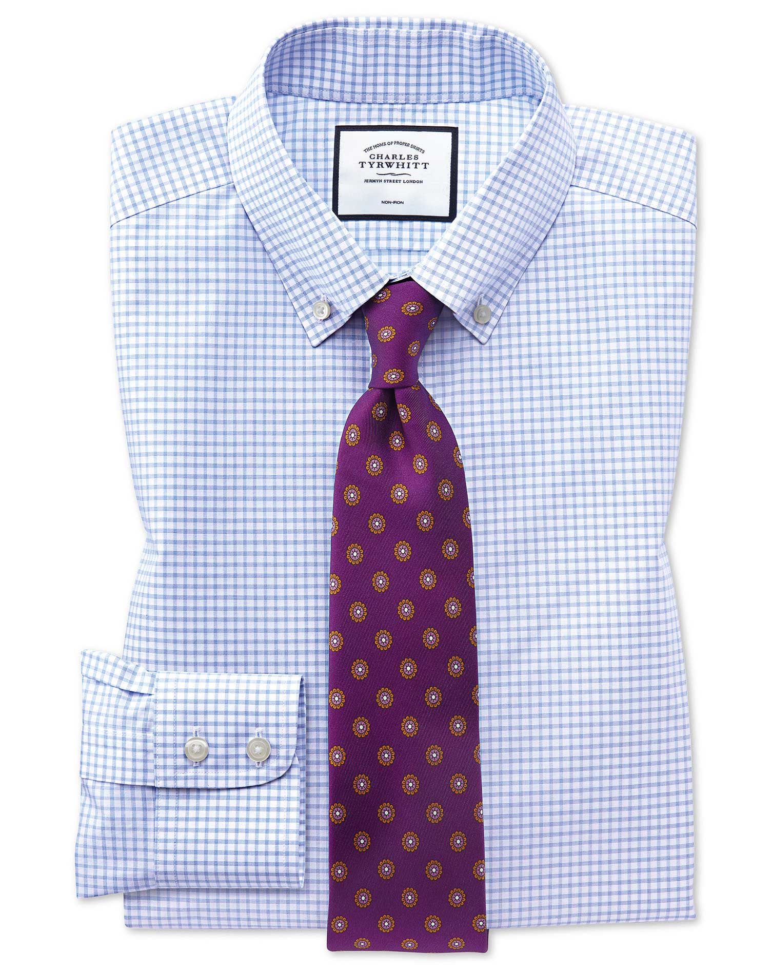 Extra Slim Fit Button-Down Non-Iron Sky Blue Windowpane Check Cotton Formal Shirt Single Cuff Size 1