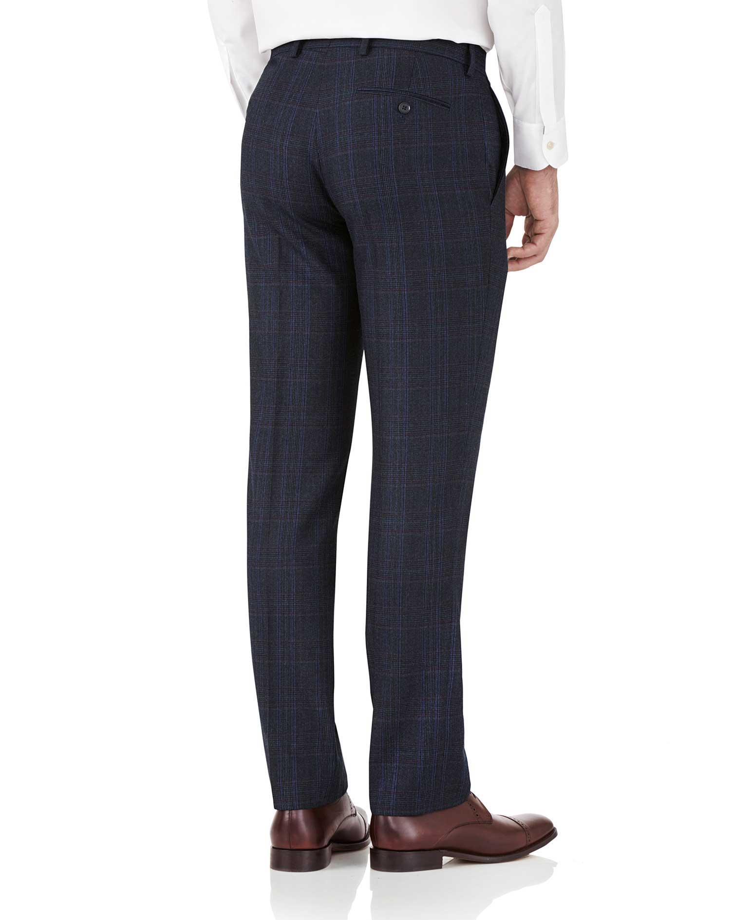 Blue Prince of Wales slim fit flannel business suit trousers