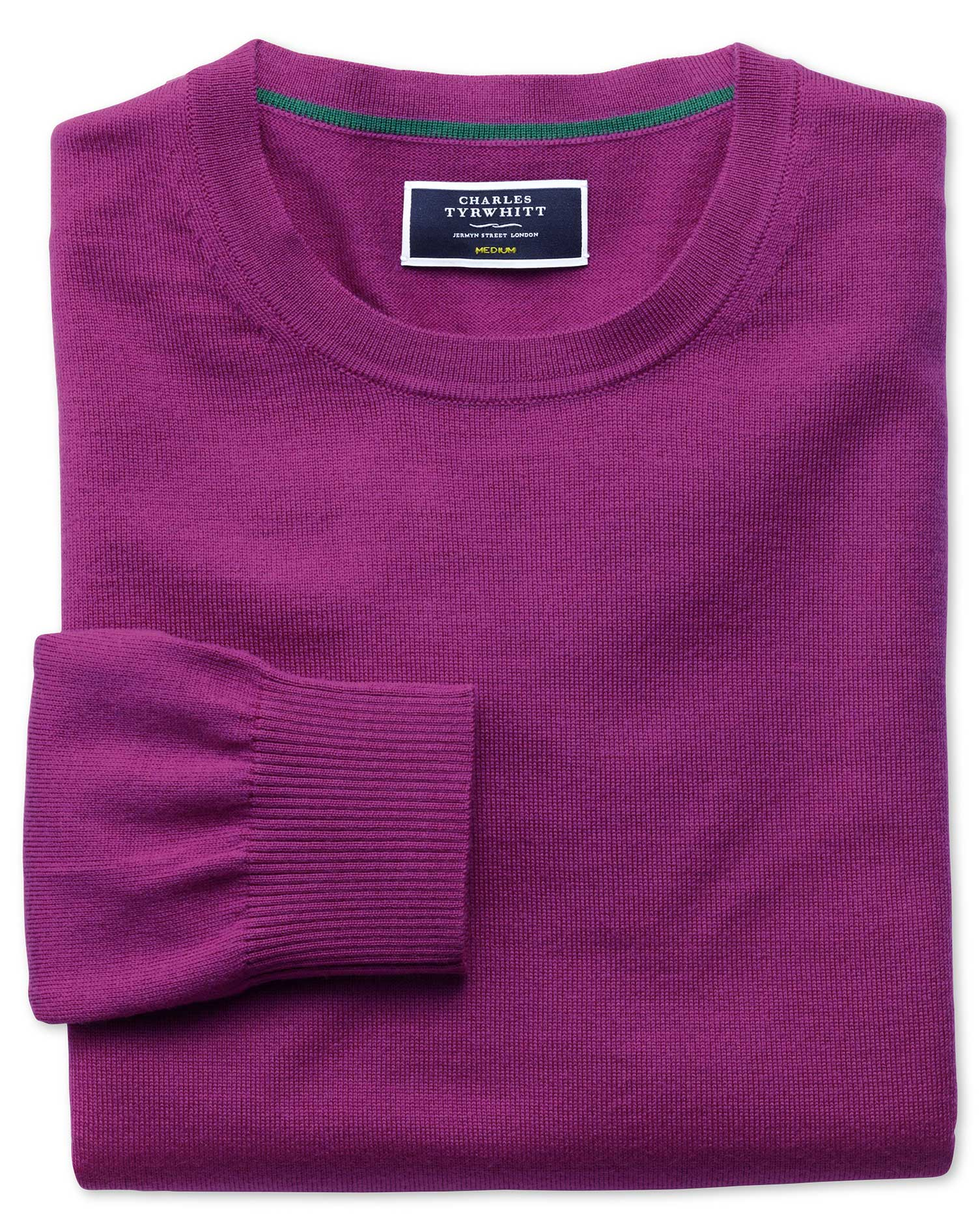 Berry Merino Wool Crew Neck Jumper Size Large by Charles Tyrwhitt