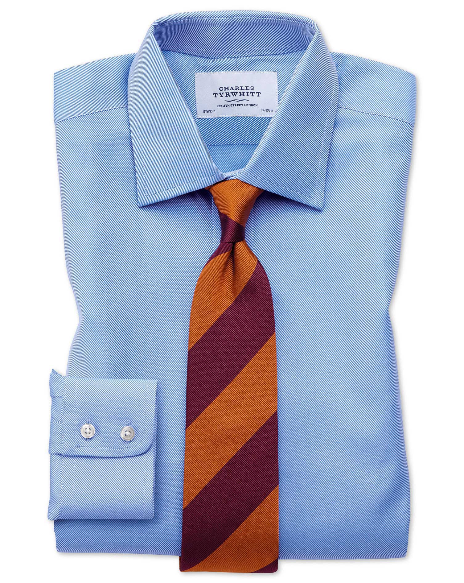 Slim fit egyptian cotton cavalry twill blue shirt for Slim fit cotton shirts