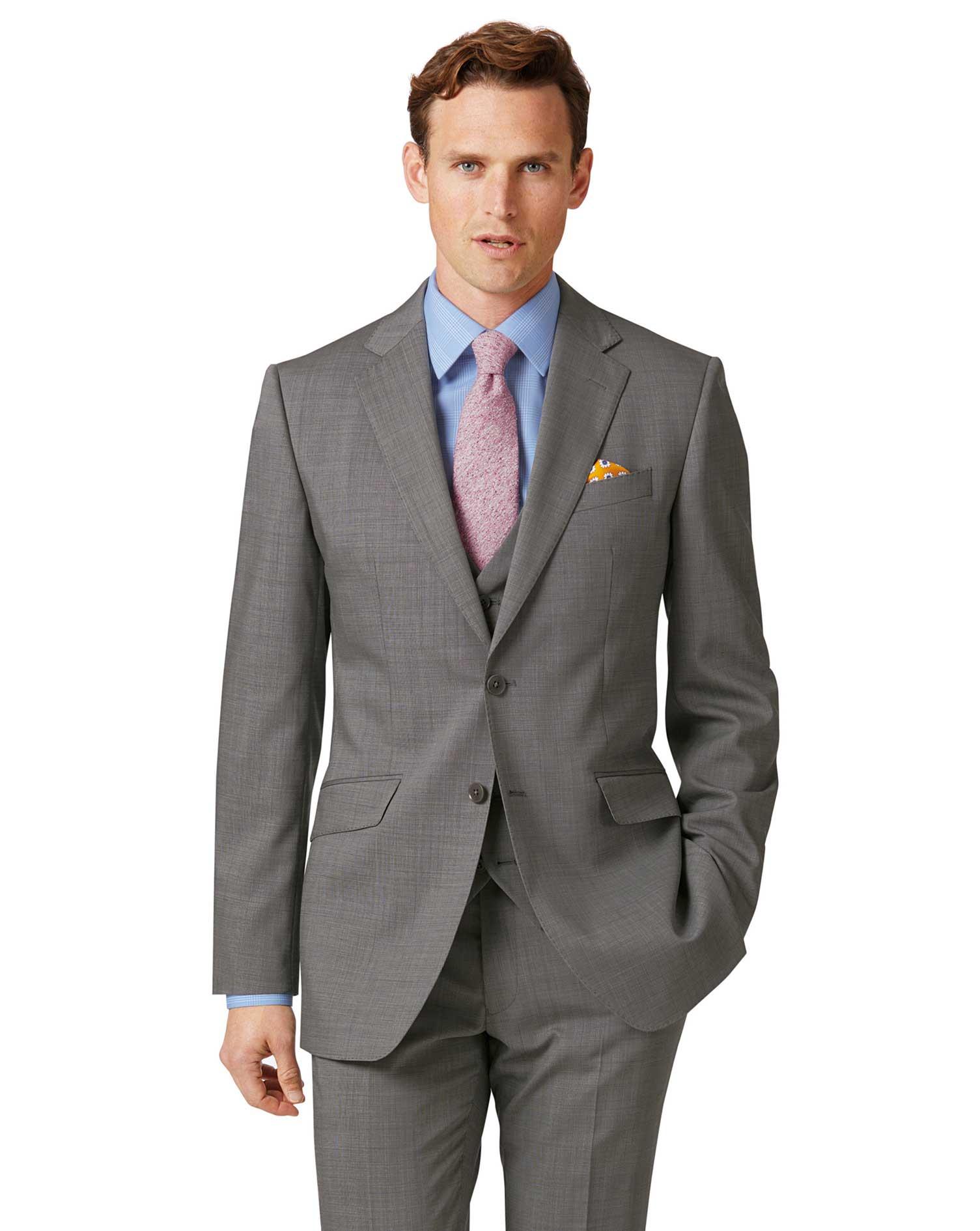 Silver Slim Fit Step Weave Suit Wool Jacket Size 36 Regular by Charles Tyrwhitt