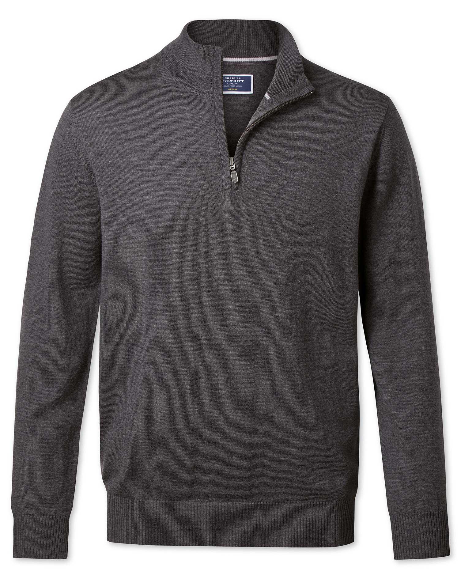 Charcoal Merino Wool Zip Neck Jumper Size XL by Charles Tyrwhitt