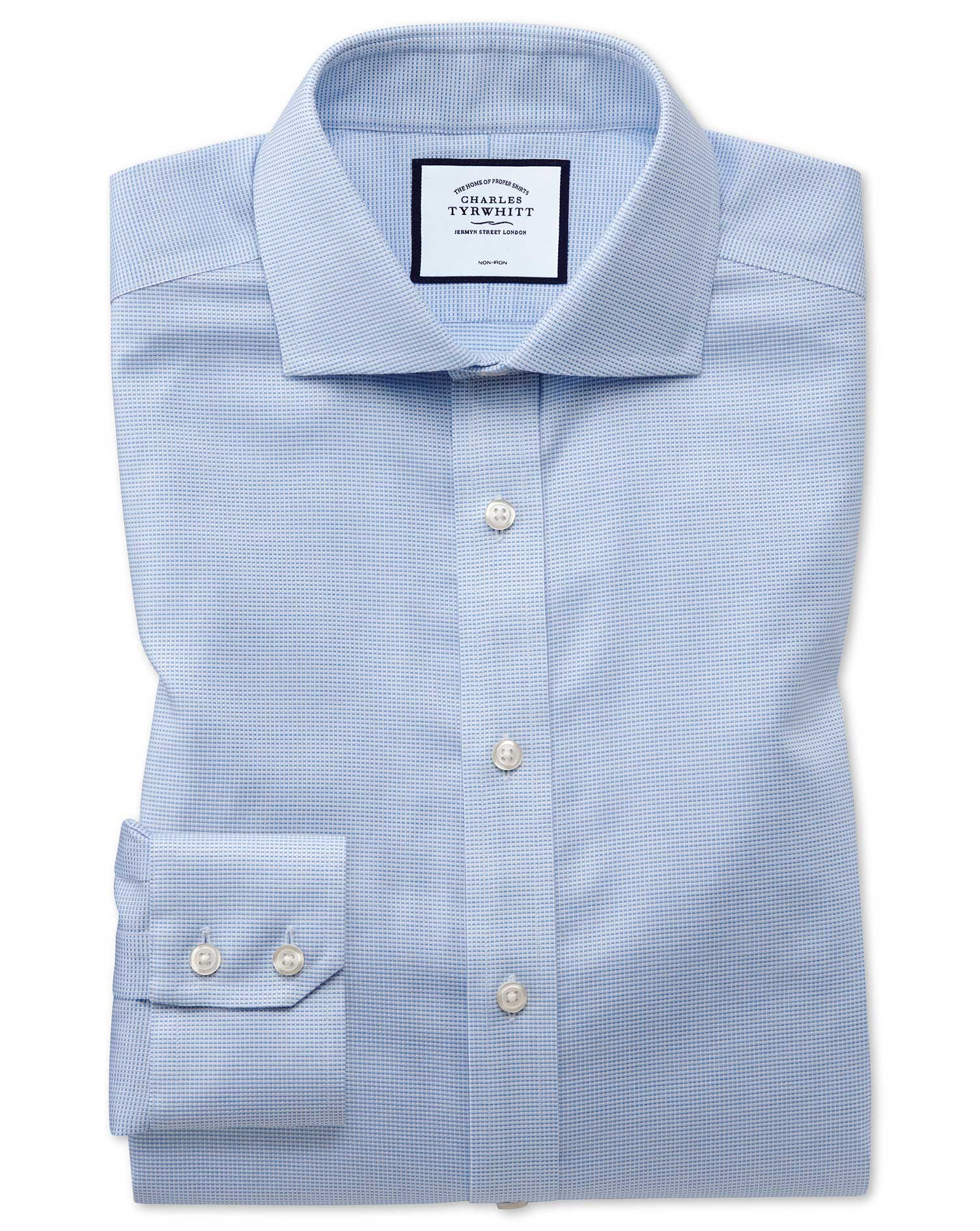 Extra Slim Fit Non-Iron Cotton Stretch Oxford Sky Blue Formal Shirt Single Cuff Size 15.5/32 by Char