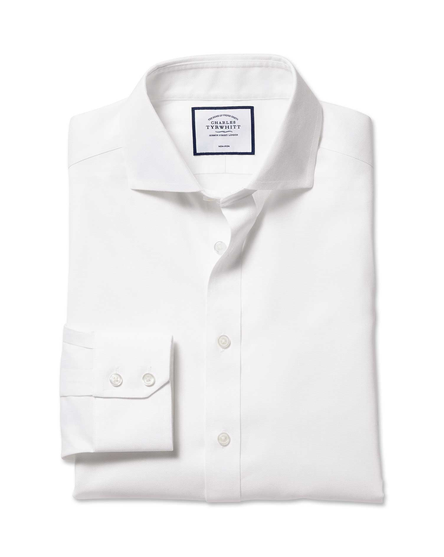 Slim Fit Cutaway Non-Iron Cotton Stretch Oxford White Formal Shirt Single Cuff Size 15.5/34 by Charl