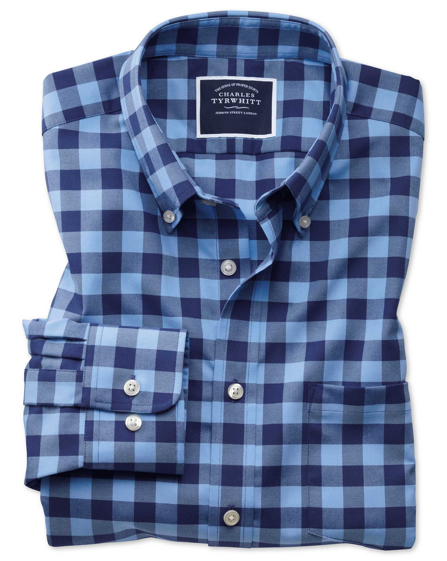 Slim Fit Button-Down Non-Iron Twill Blue and Navy Gingham Cotton Shirt Single Cuff Size XL by Charle