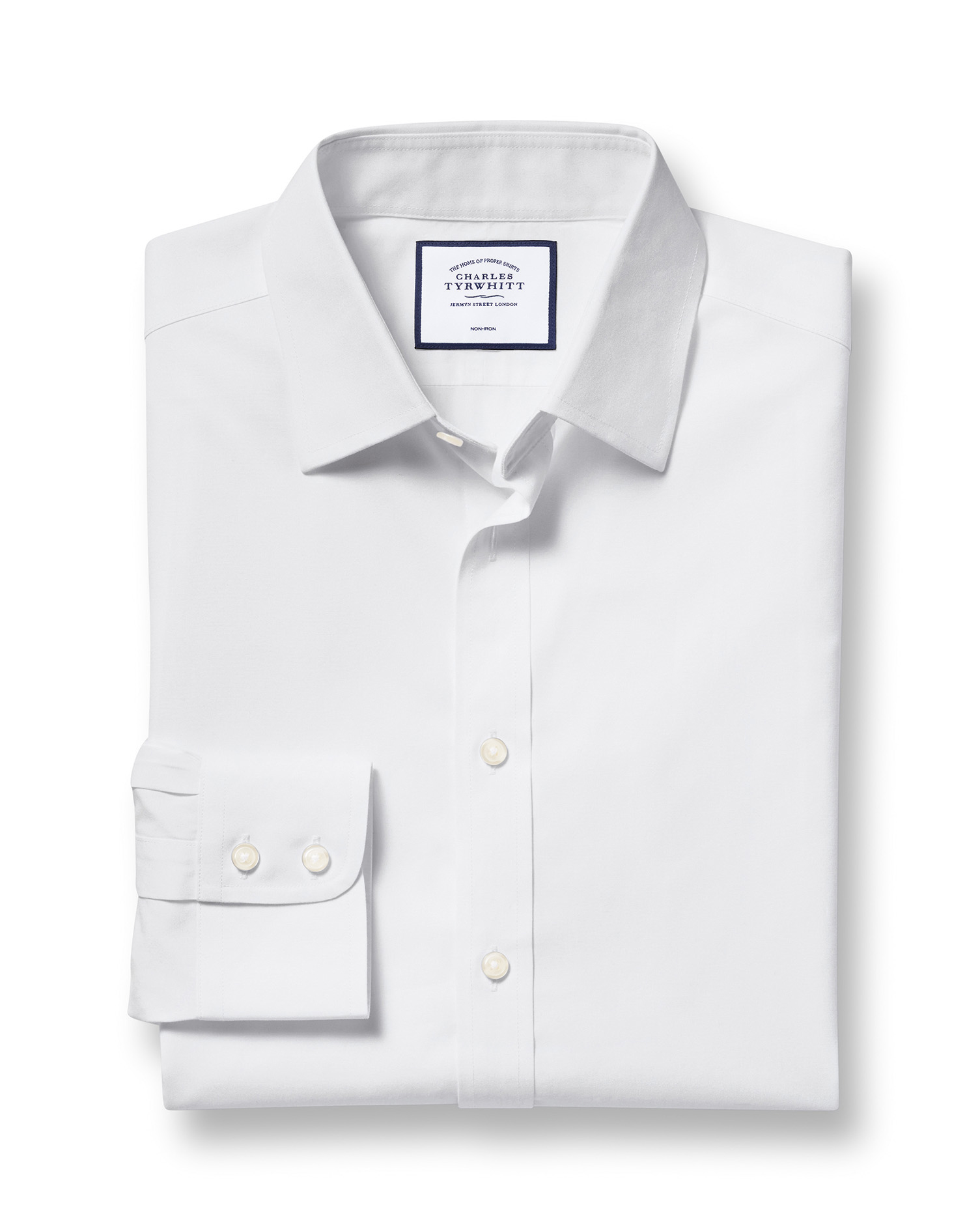 Classic Fit Non-Iron Poplin White Cotton Formal Shirt Single Cuff Size 18/37 by Charles Tyrwhitt