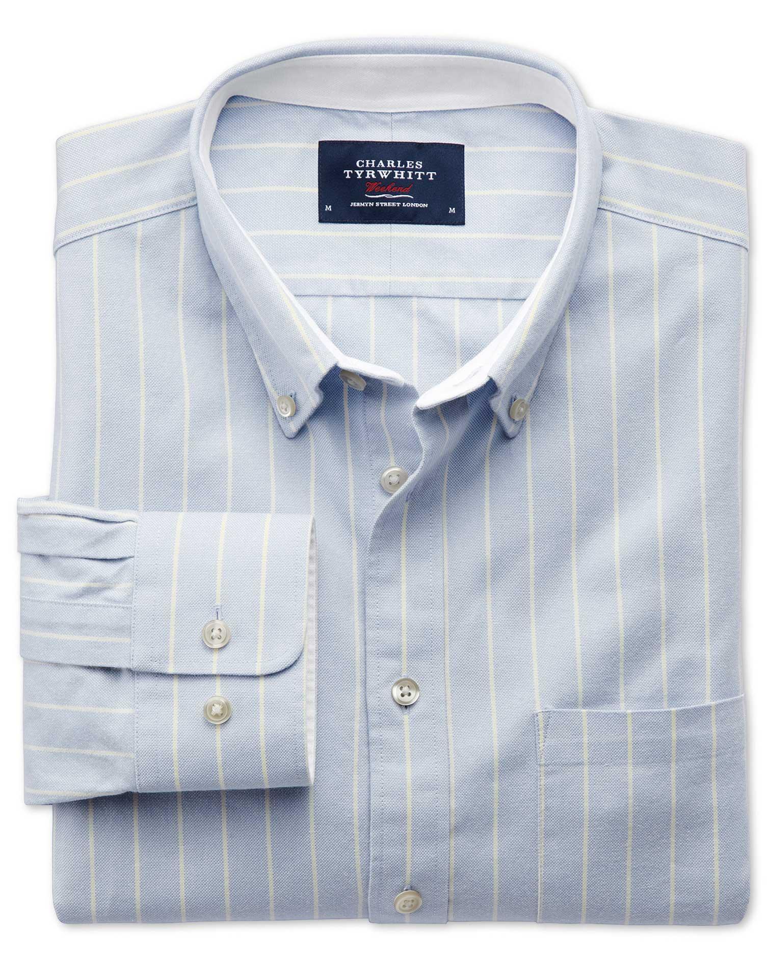 Extra Slim Fit Sky Blue Stripe Washed Oxford Shirt