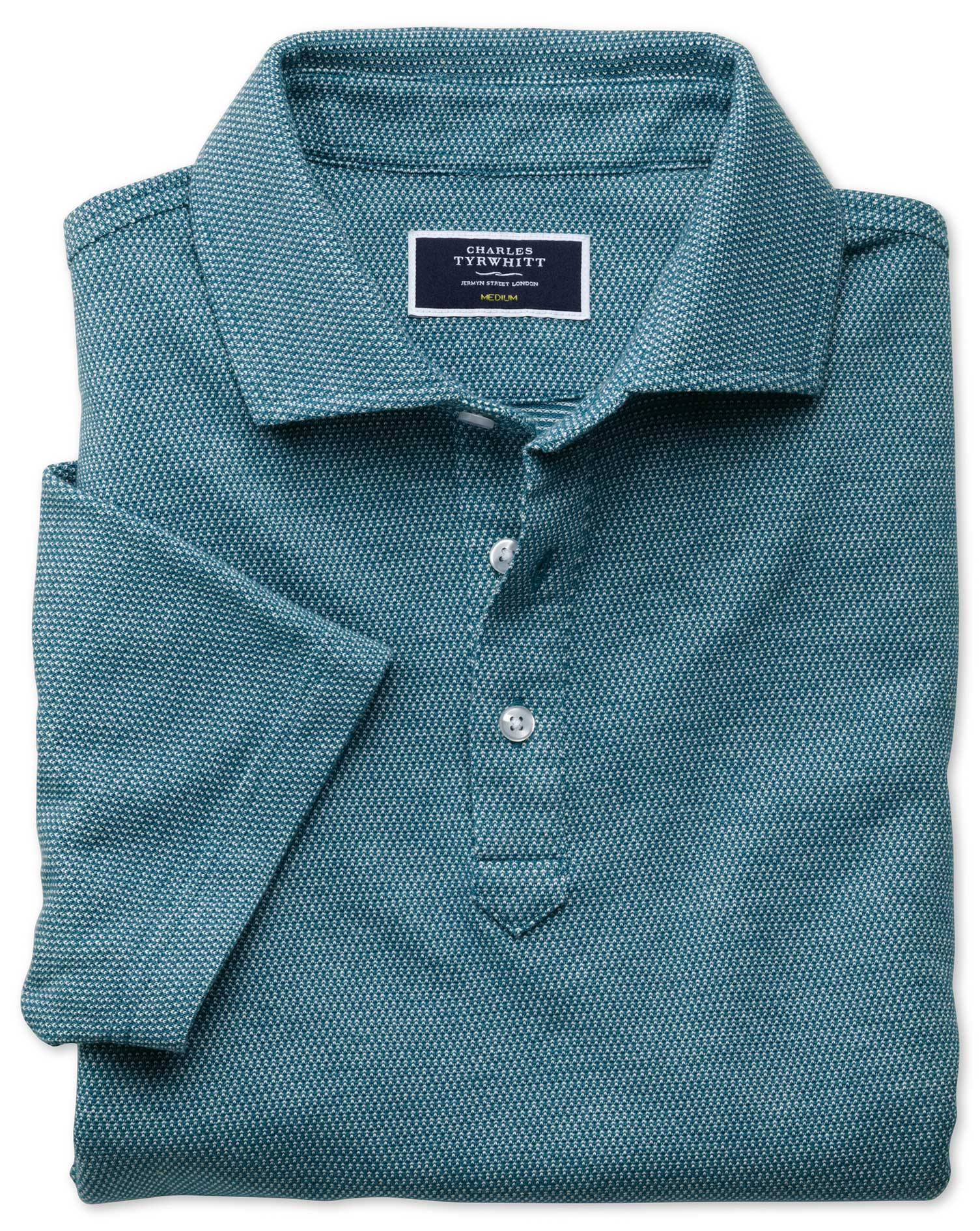 Teal and White Birdseye Cotton Polo Size Small by Charles Tyrwhitt