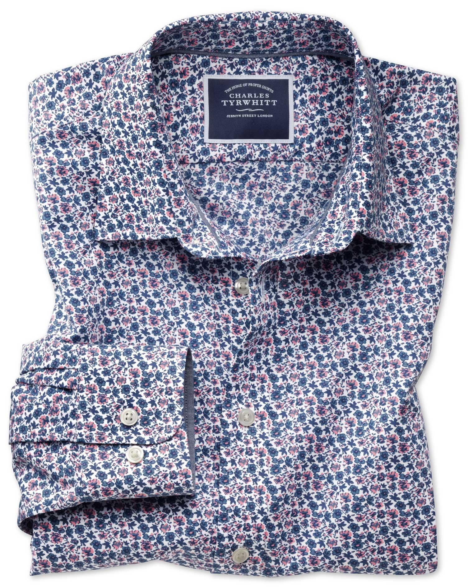 Slim Fit Non-Iron Poplin Pink Multi Floral Print Cotton Shirt Single Cuff Size Medium by Charles Tyr