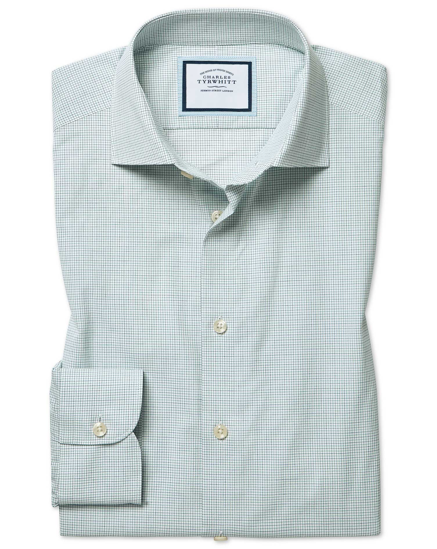 Slim Fit Peached Egyptian Cotton Green And Blue Check Shirt