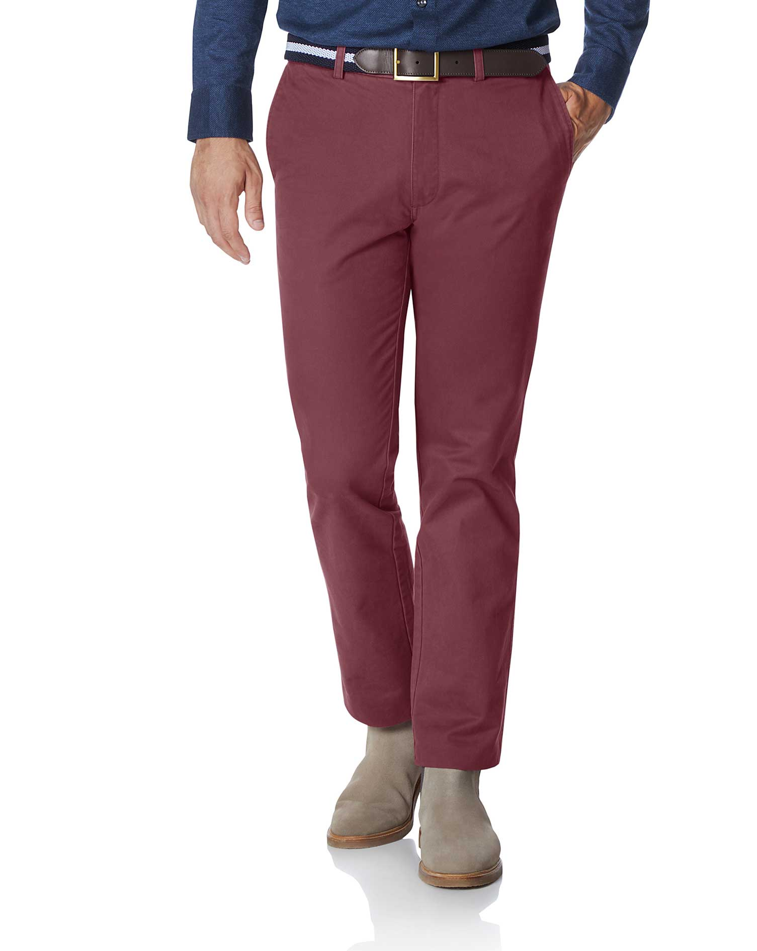 Dark Pink Classic Fit Flat Front Washed Cotton Chino Trousers Size W36 L32 by Charles Tyrwhitt