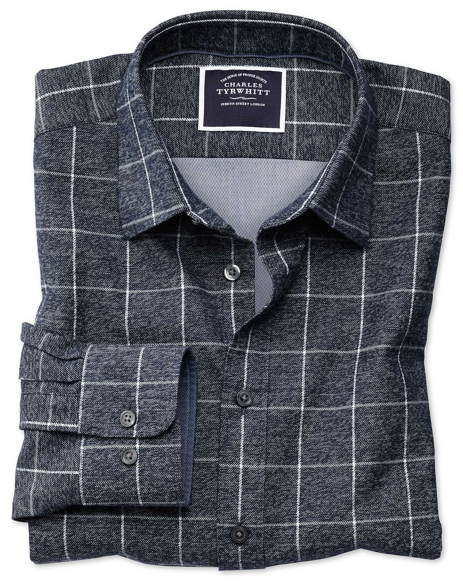 classic fit navy and white check soft textured cotton casual shirt single cuff size small by charles tyrwhitt