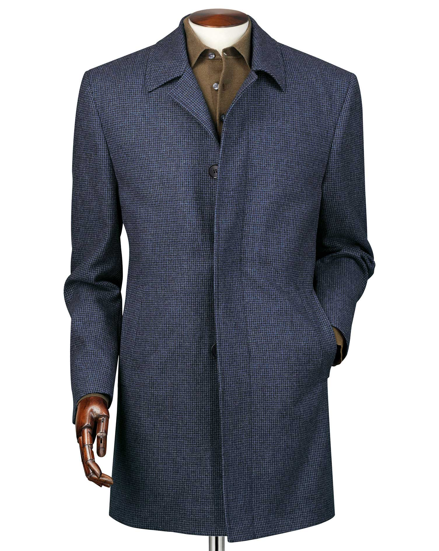 airforce blue puppytooth weatherproof wool car wool coat size 42 by charles tyrwhitt