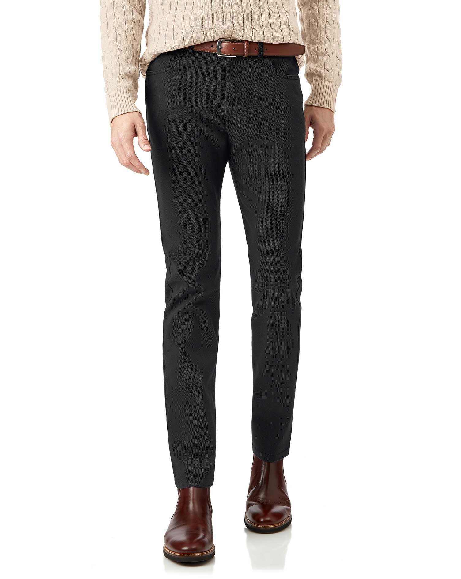 Cotton Charcoal Diamond Texture Stretch 5-Pocket Trousers