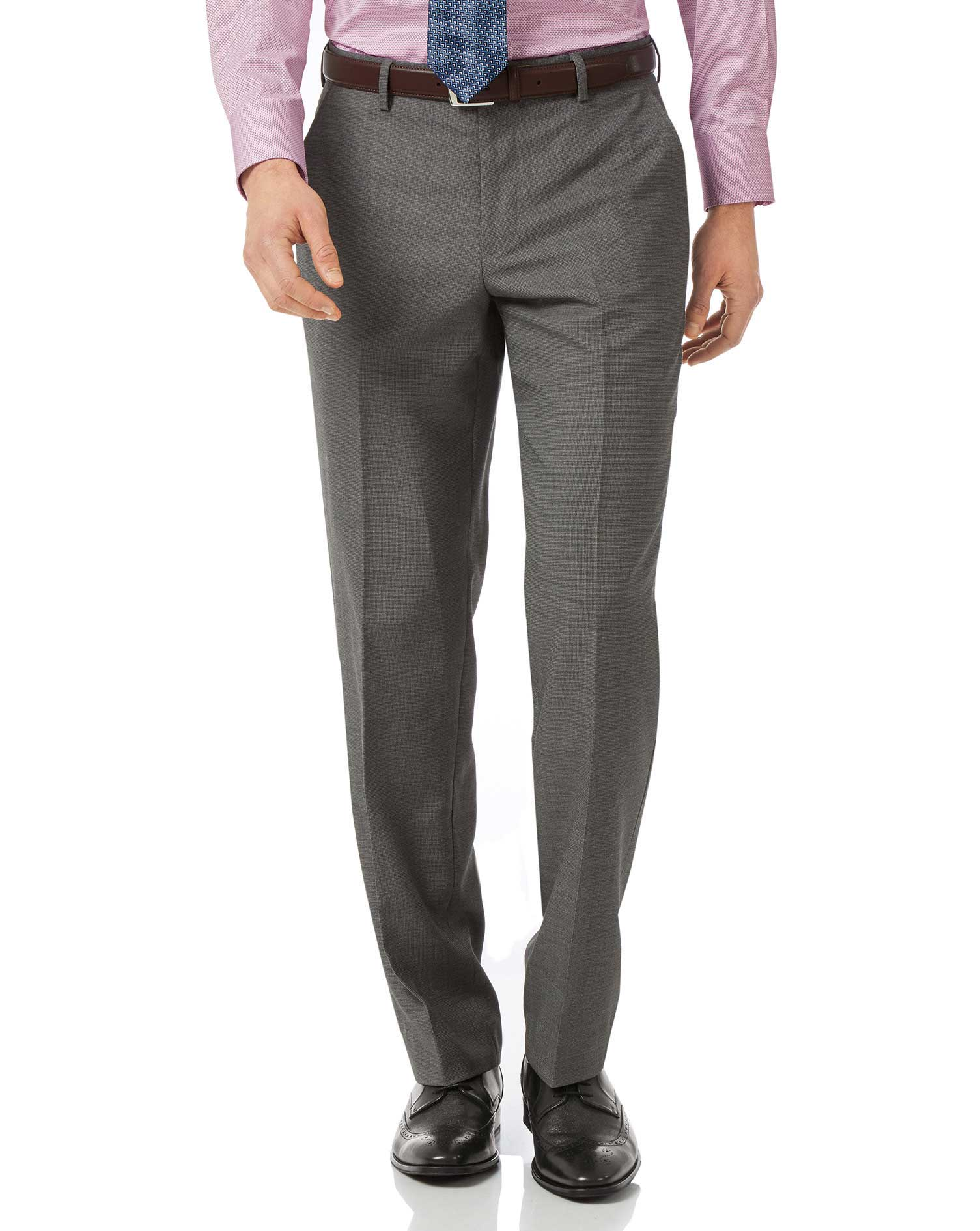 Grey classic fit jaspe business suit pants