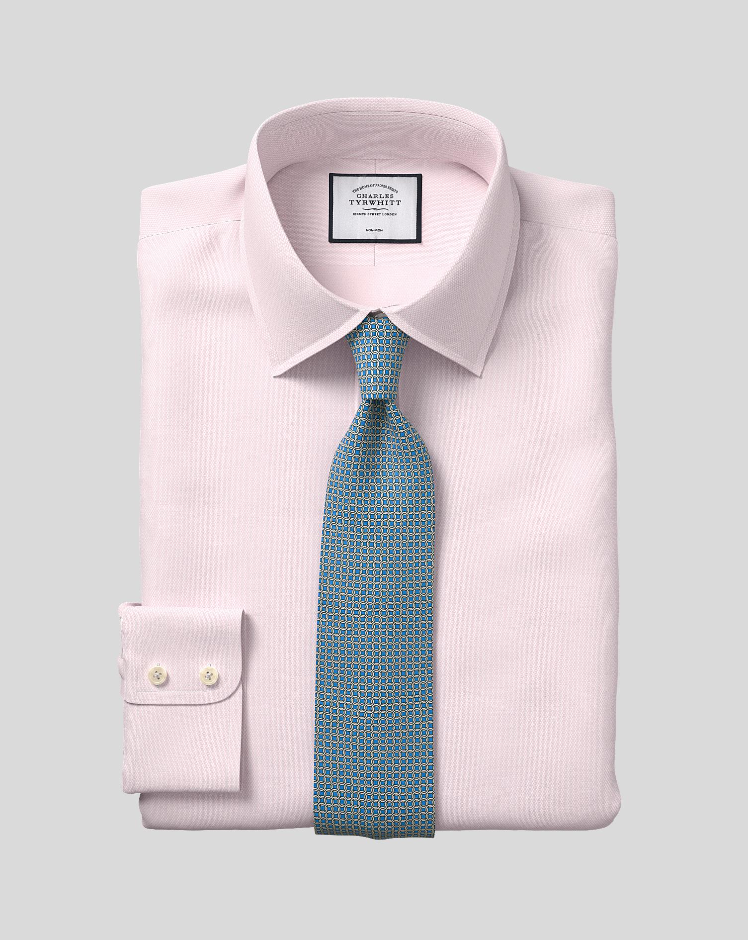 Cotton Classic Collar Non-Iron Micro Diamond Shirt - Pink