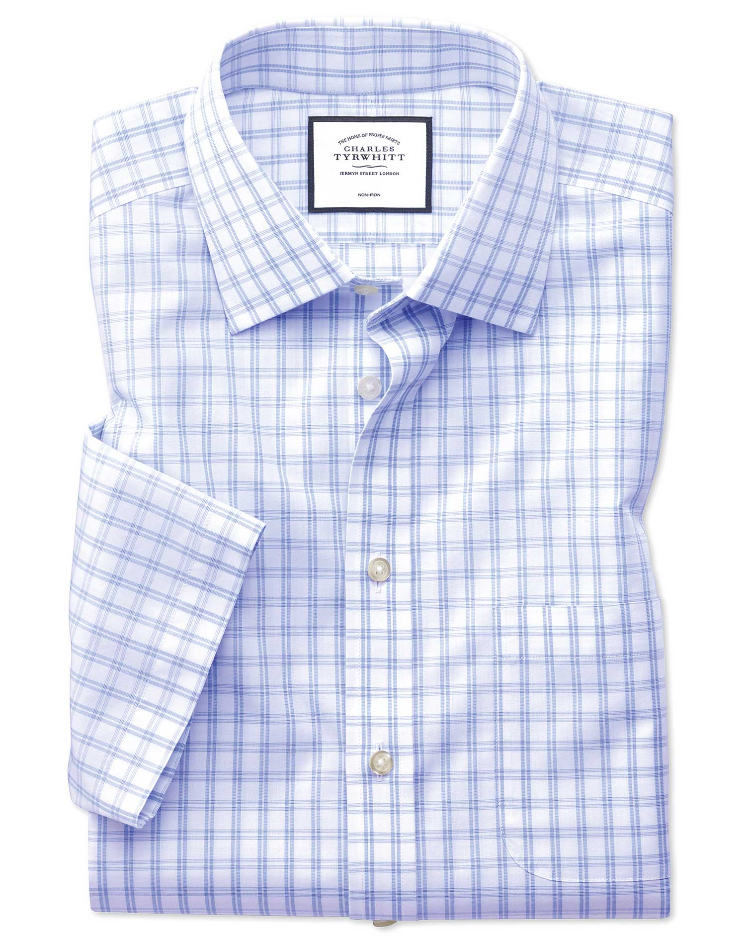 Classic Fit Non-Iron Natural Cool Short Sleeve Sky Blue Check Cotton Formal Shirt Size 18/Short by C