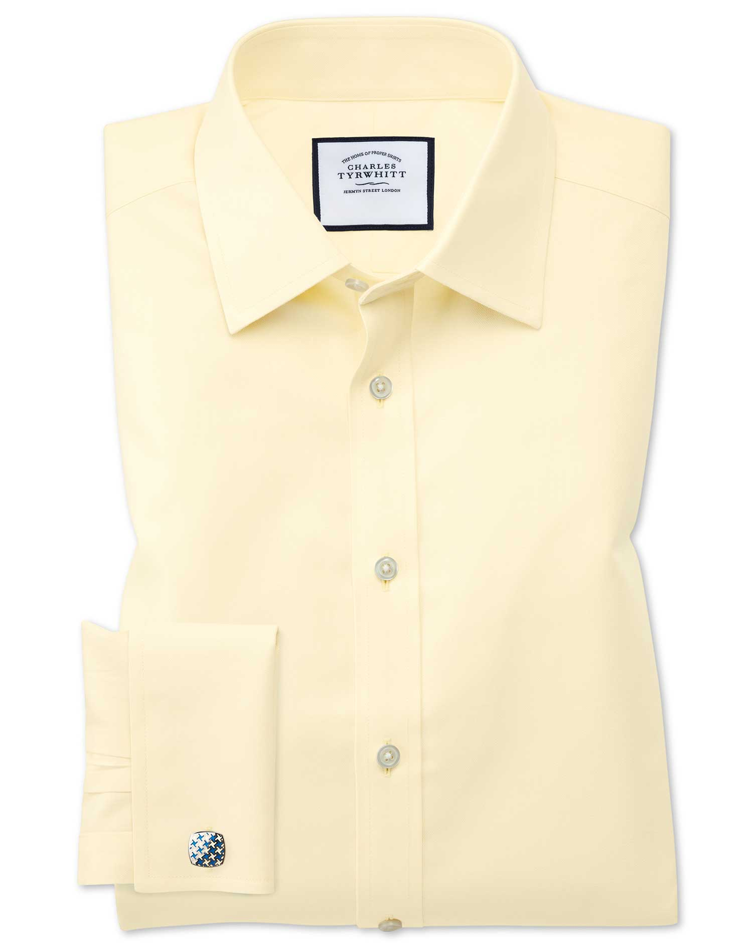 Classic Fit Non-Iron Twill Yellow Cotton Formal Shirt Double Cuff Size 16.5/34 by Charles Tyrwhitt