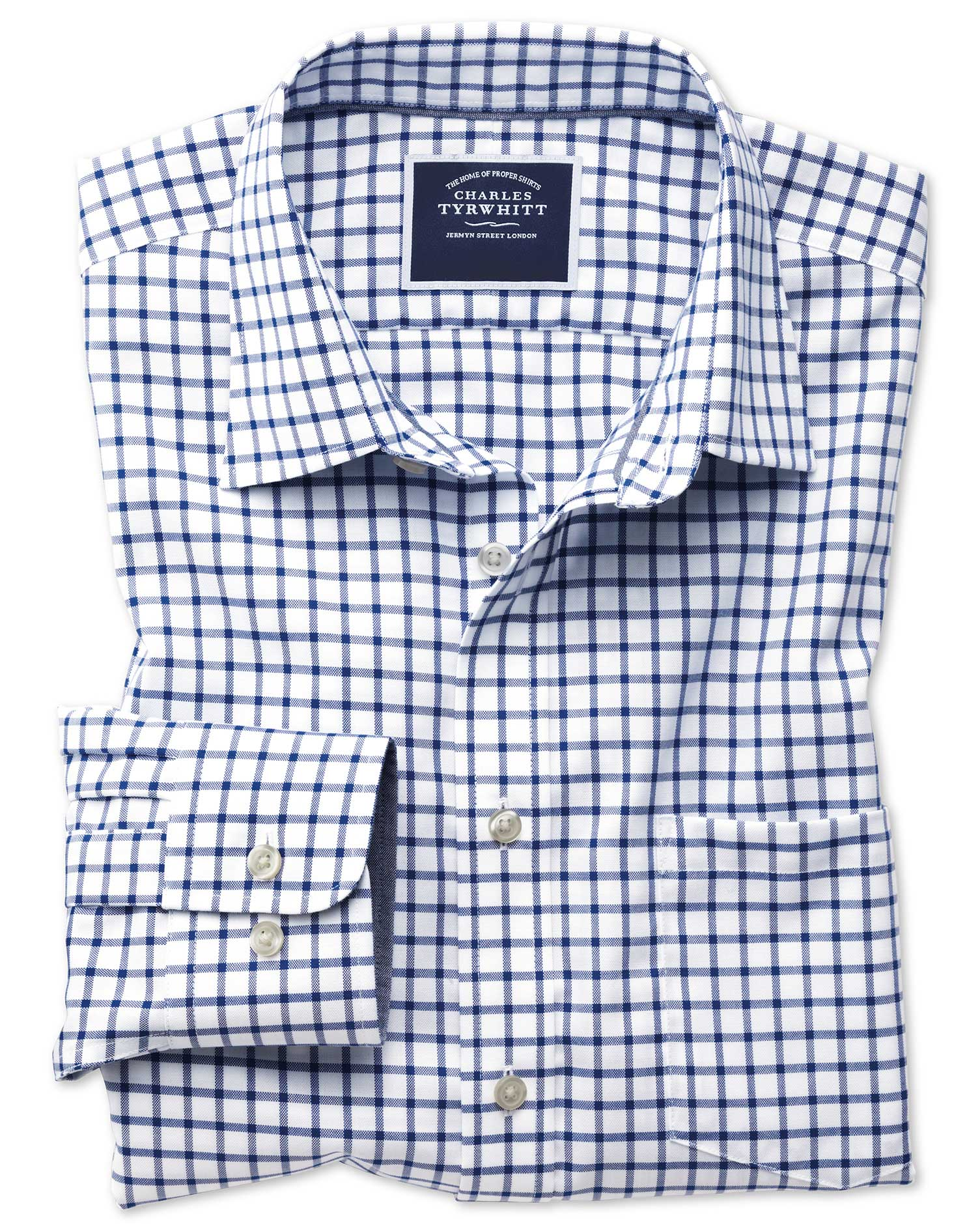 Slim Fit Non-Iron Oxford White and Navy Grid Check Cotton Shirt Single Cuff Size XXL by Charles Tyrw