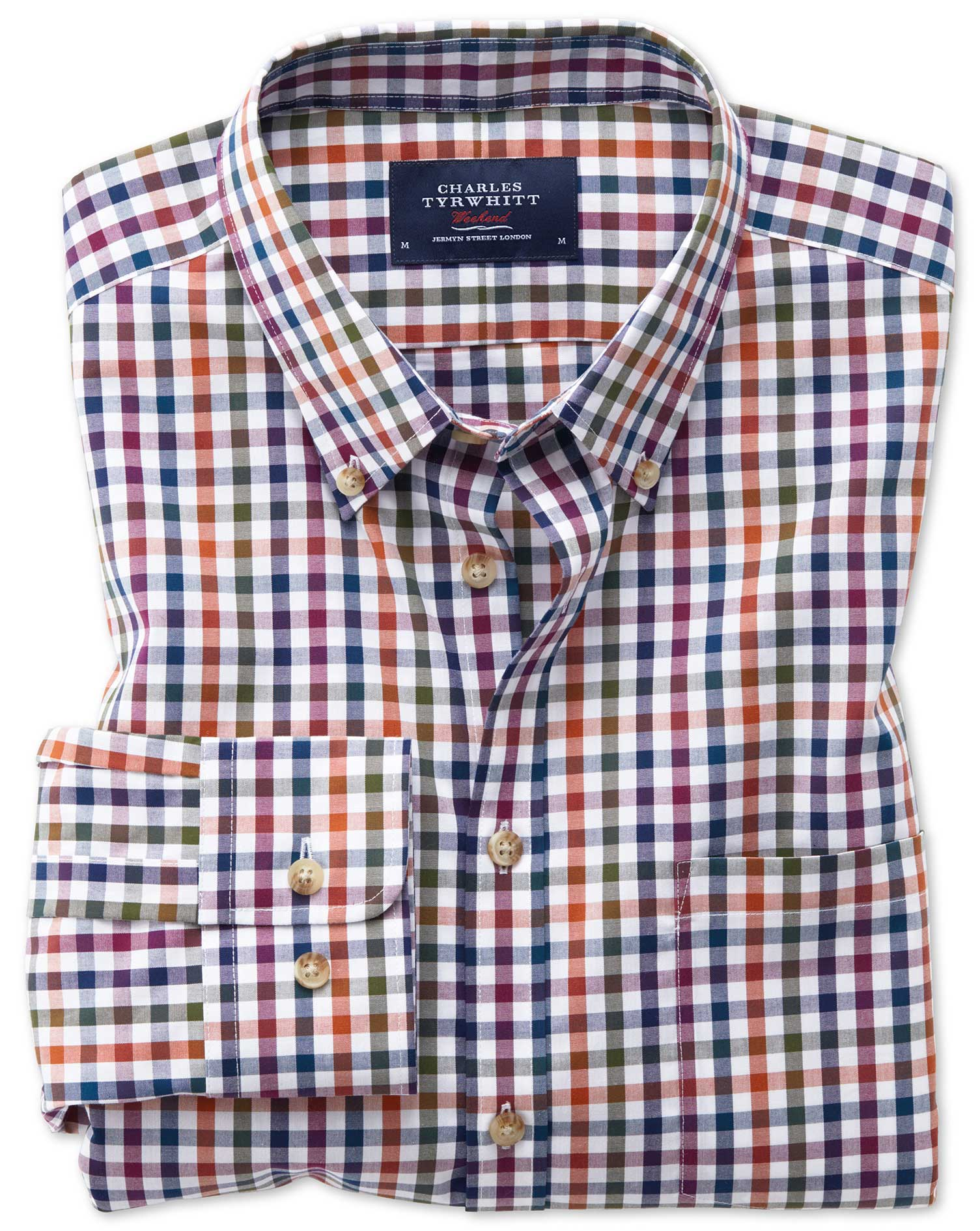 Slim Fit Button-Down Non-Iron Poplin Berry Multi Gingham Cotton Shirt Single Cuff Size XS by Charles