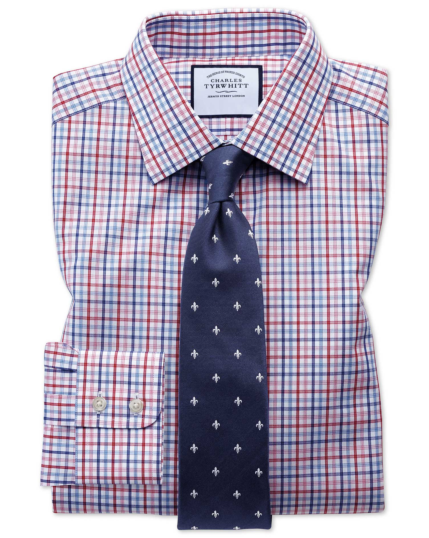 Extra Slim Fit Poplin Multi Red Check Cotton Formal Shirt Double Cuff Size 17/37 by Charles Tyrwhitt