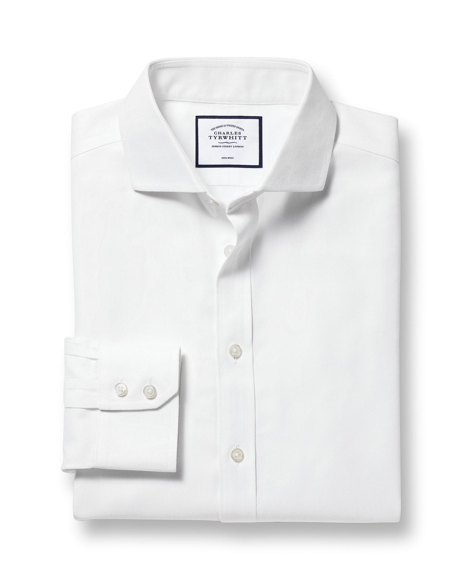 Extra Slim Fit Cutaway Non-Iron Herringbone White Cotton Formal Shirt Single Cuff Size 16.5/38 by Ch
