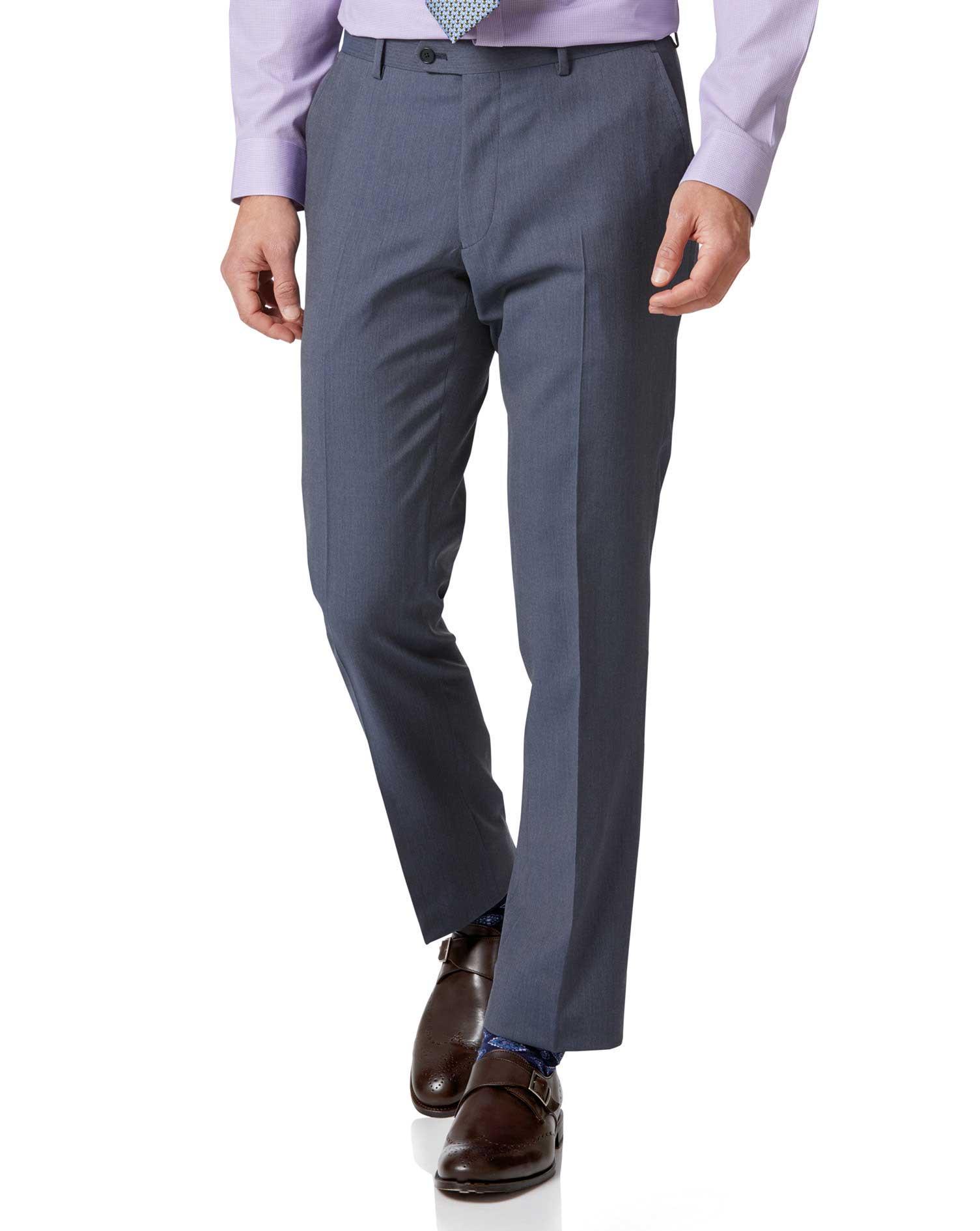 Light Blue Slim Fit Herringbone Business Suit Trousers Size W32 L34 by Charles Tyrwhitt