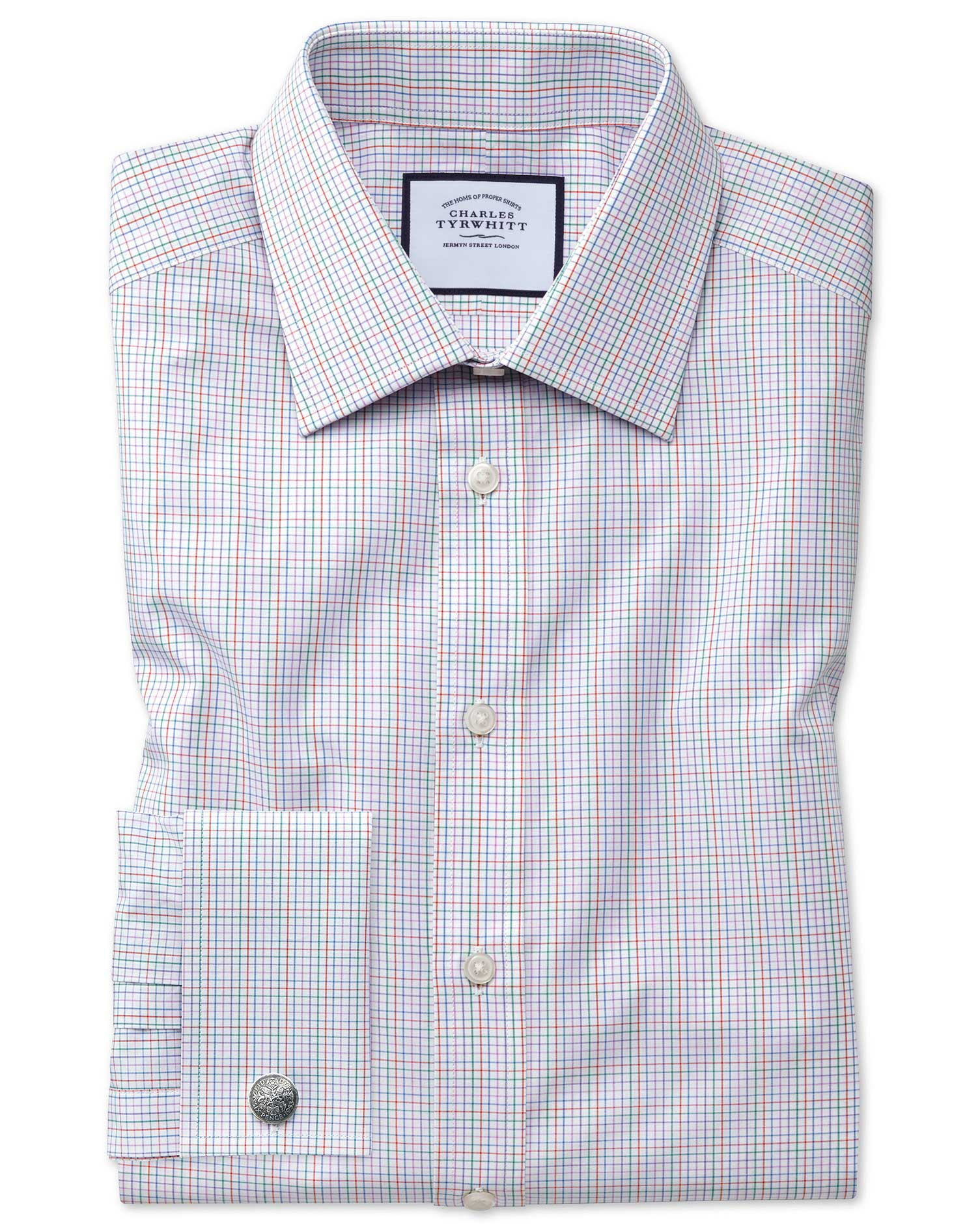 Extra Slim Fit Pink Multi Check Egyptian Cotton Formal Shirt Single Cuff Size 14.5/33 by Charles Tyr