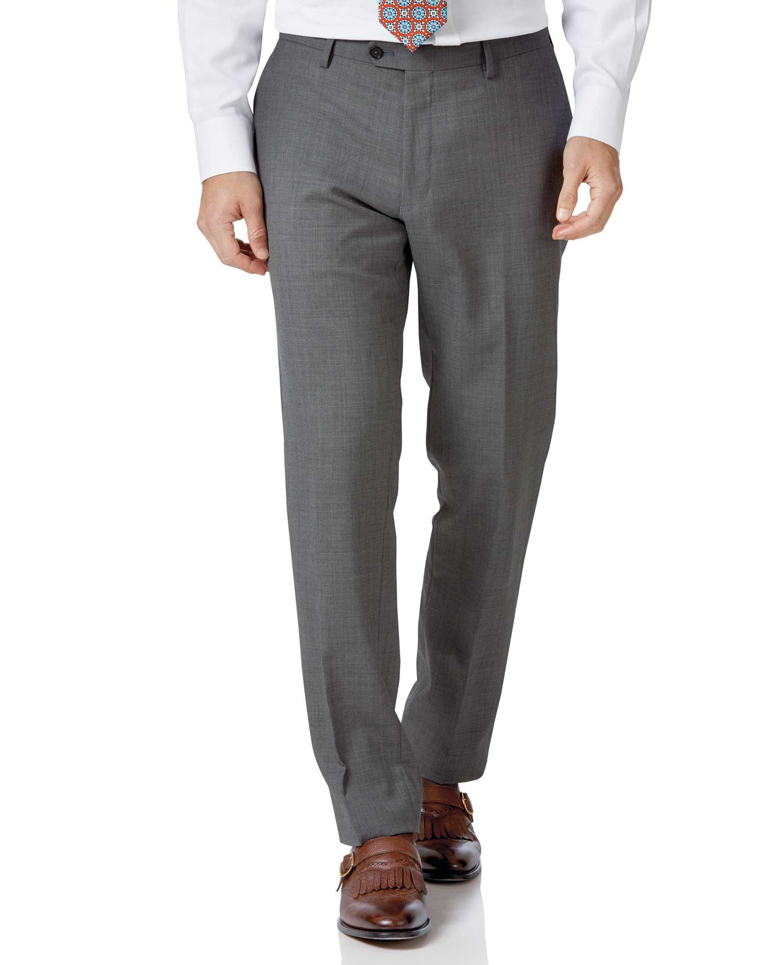 Light grey slim fit sharkskin travel suit trousers