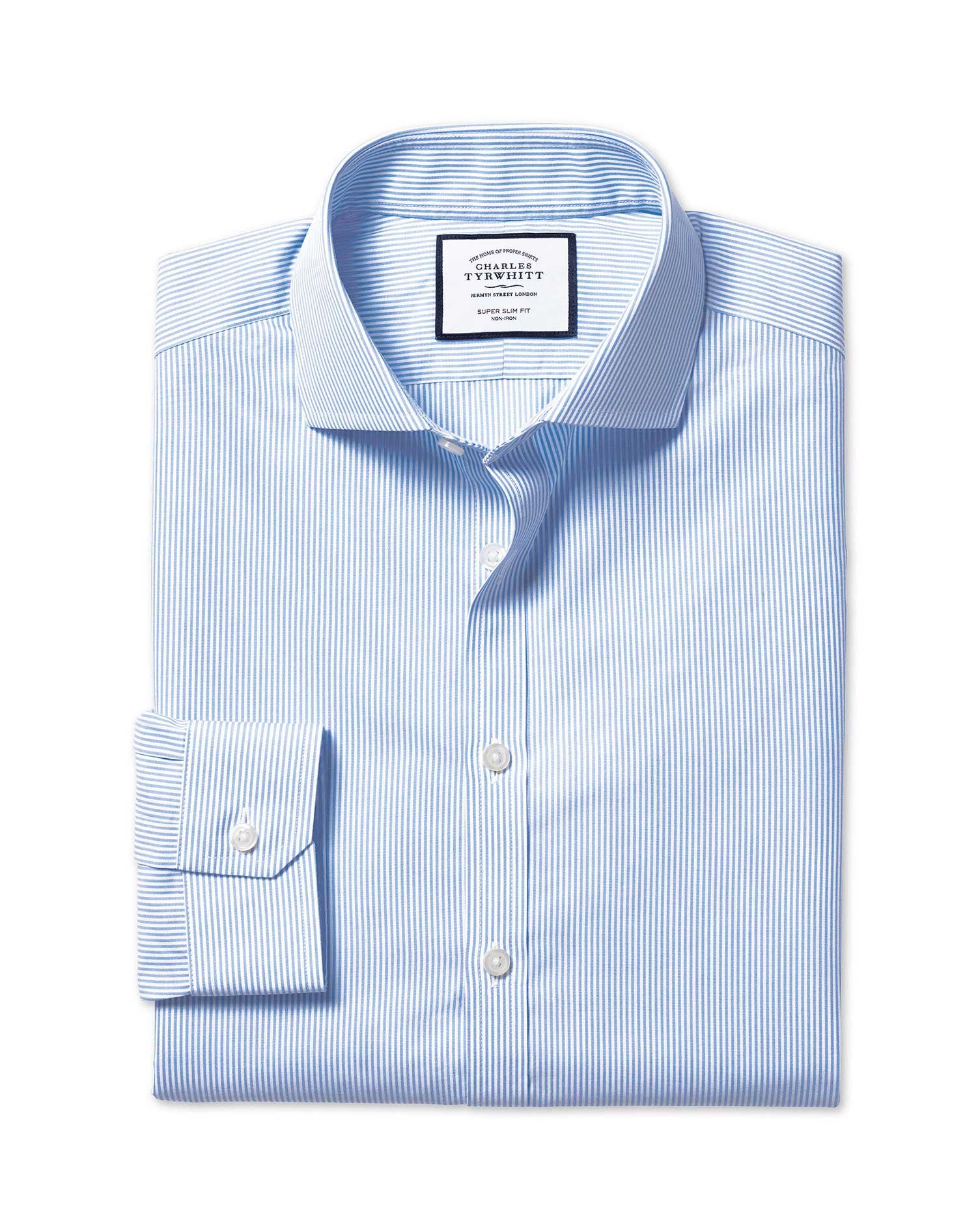 Cotton Super Slim Fit Non-Iron Cutaway Sky Blue Bengal Stripe Shirt