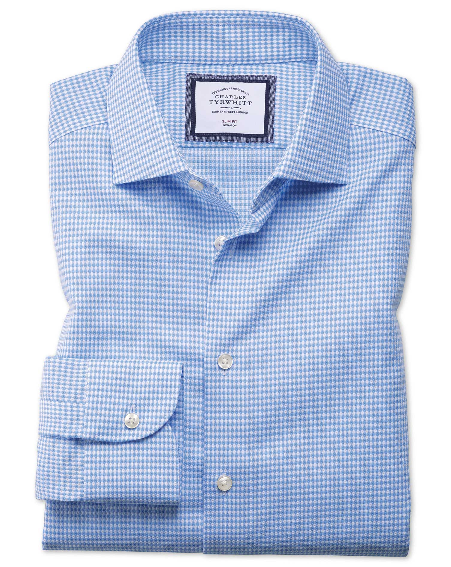 Extra Slim Fit Semi-Cutaway Business Casual Non-Iron Modern Textures Sky Blue Cotton Formal Shirt Si