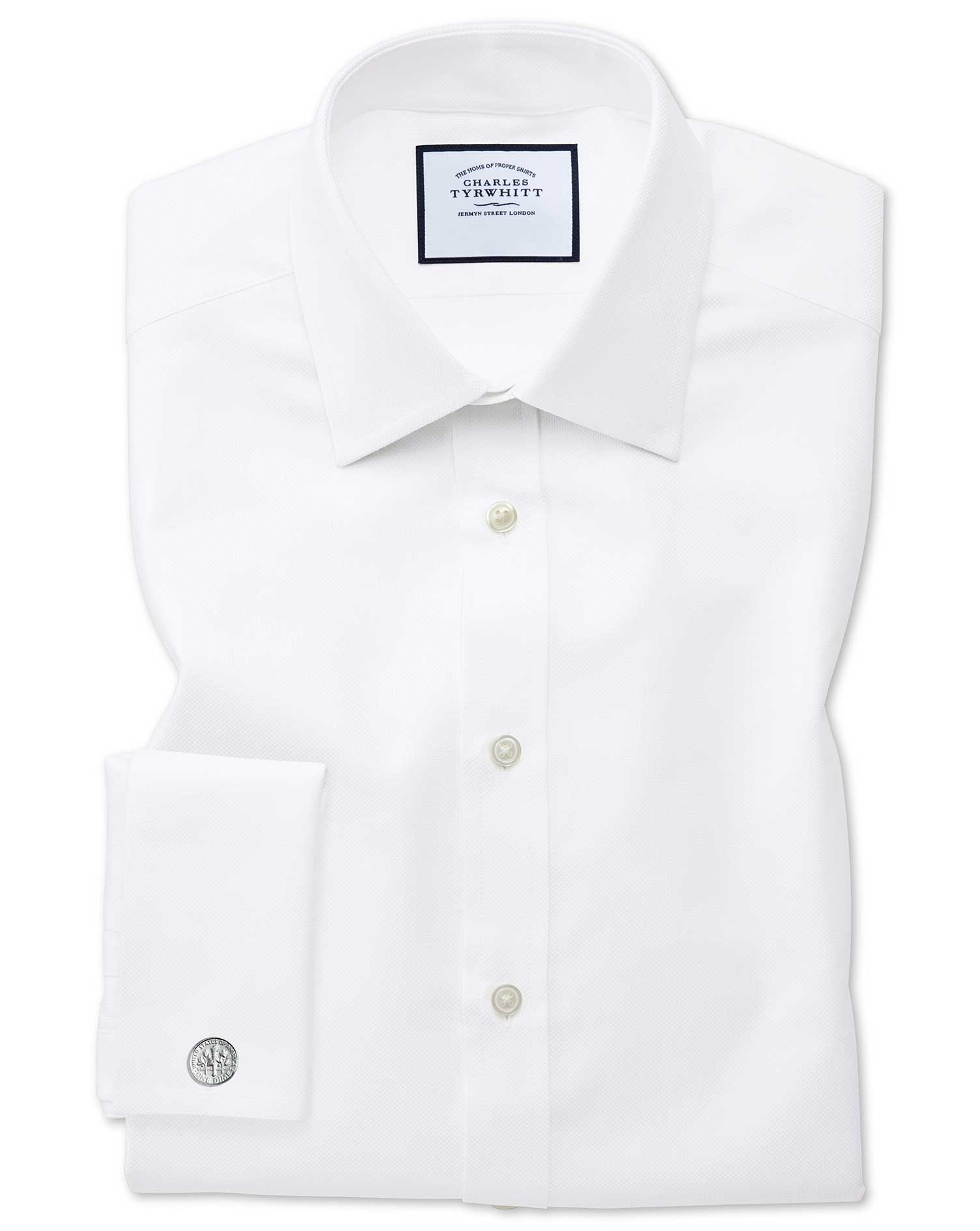 Classic Fit Egyptian Cotton Royal Oxford White Formal Shirt Single Cuff Size 16/34 by Charles Tyrwhi