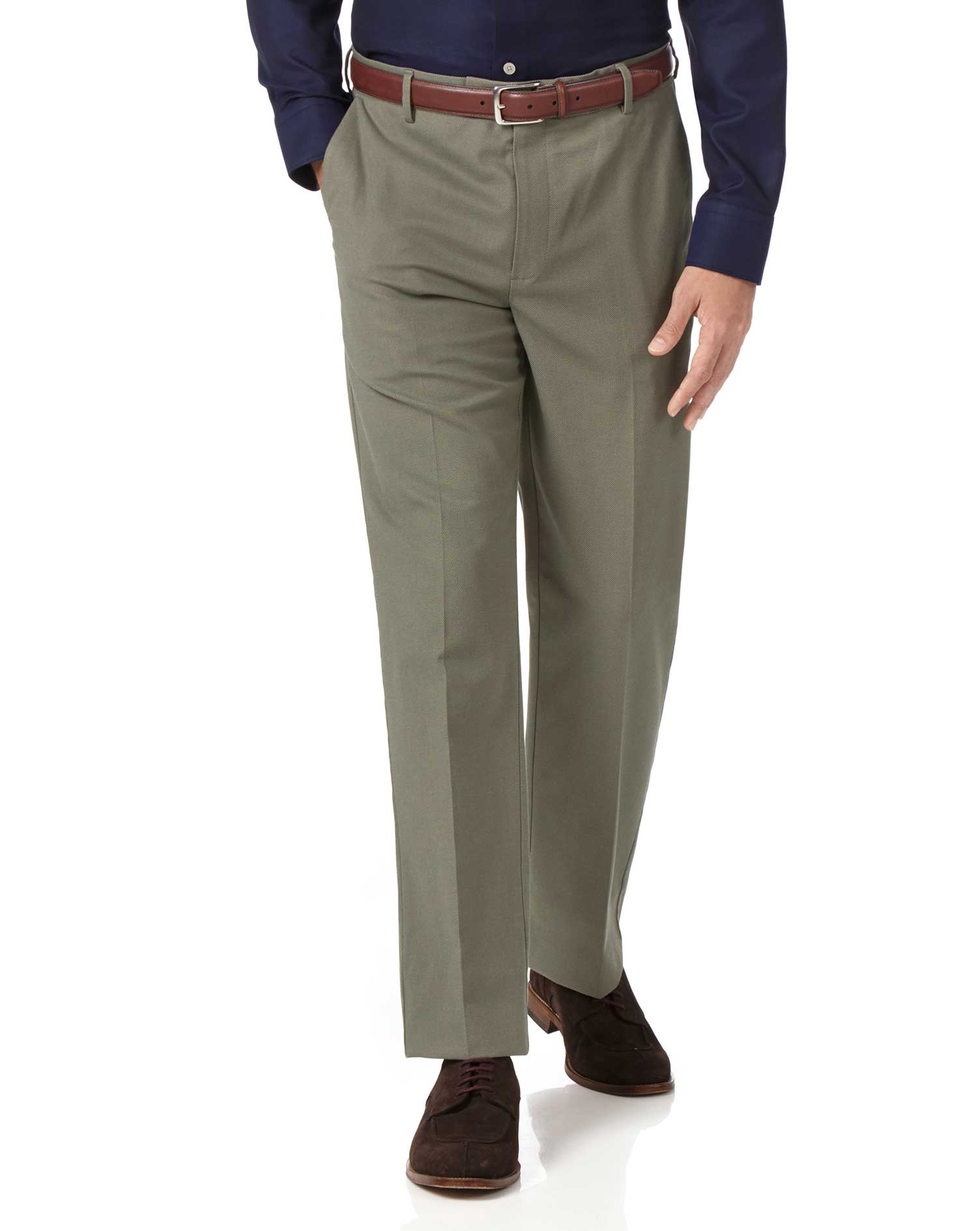 Olive Classic Fit Stretch Non-Iron Trousers Size W42 L30 by Charles Tyrwhitt
