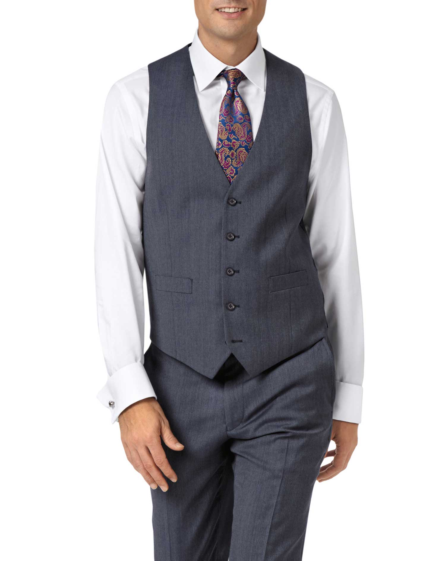 Light blue adjustable fit twill business suit waistcoat