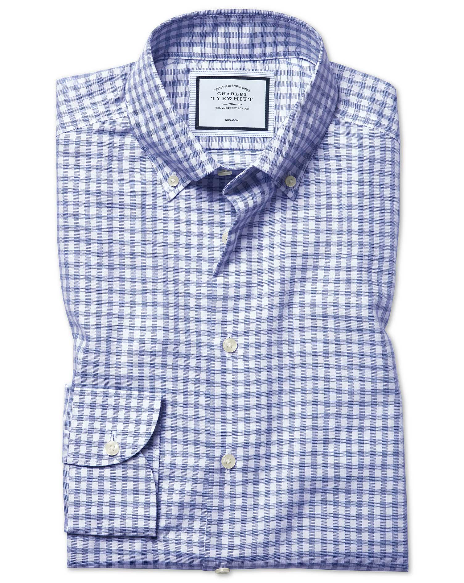 Extra Slim Fit Business Casual Non-Iron With Tencel™ Royal Blue Check Cotton Tencel Formal Shi