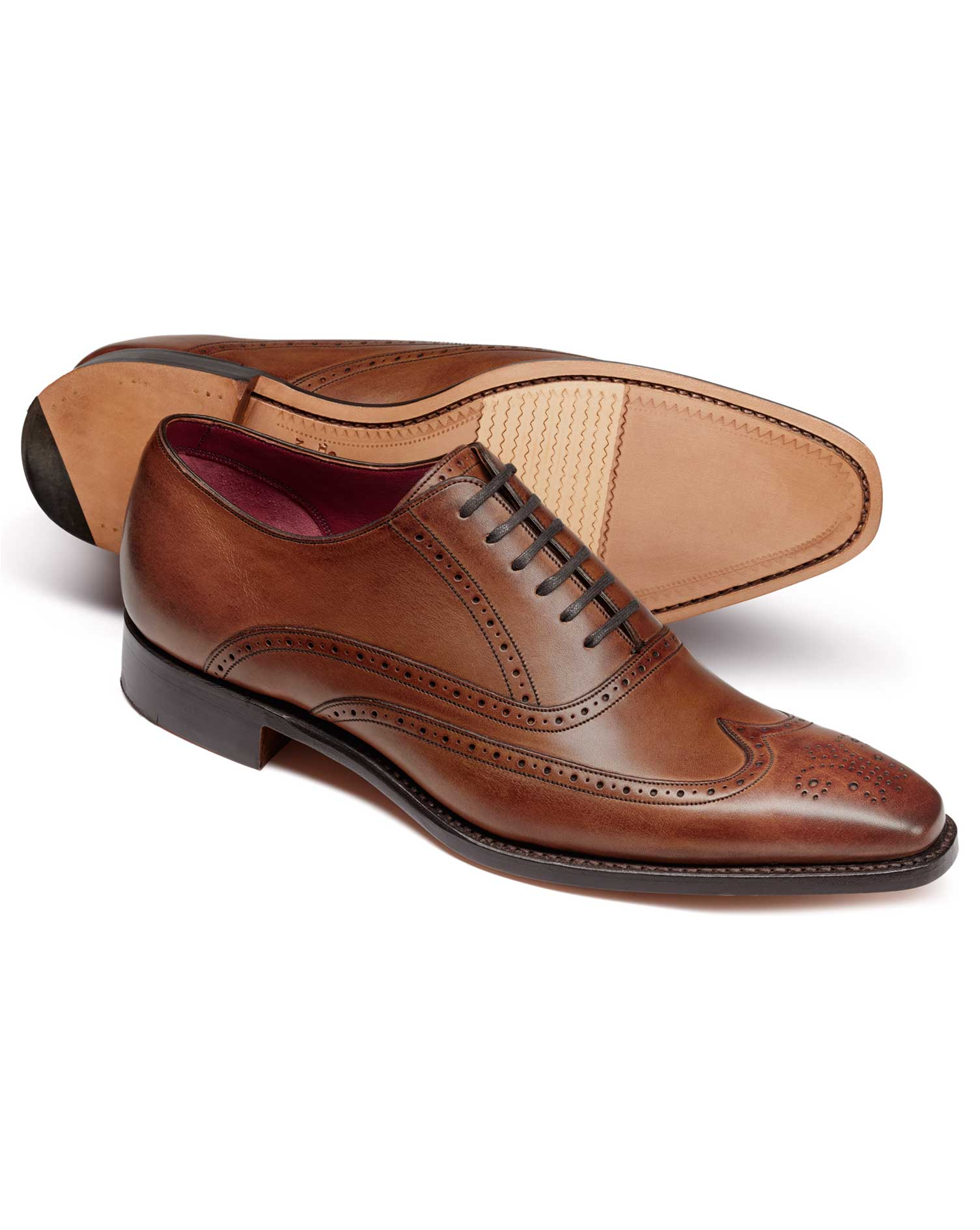 Chestnut Made In England Oxford Brogue Flex Sole Shoes Size 6 R by Charles Tyrwhitt