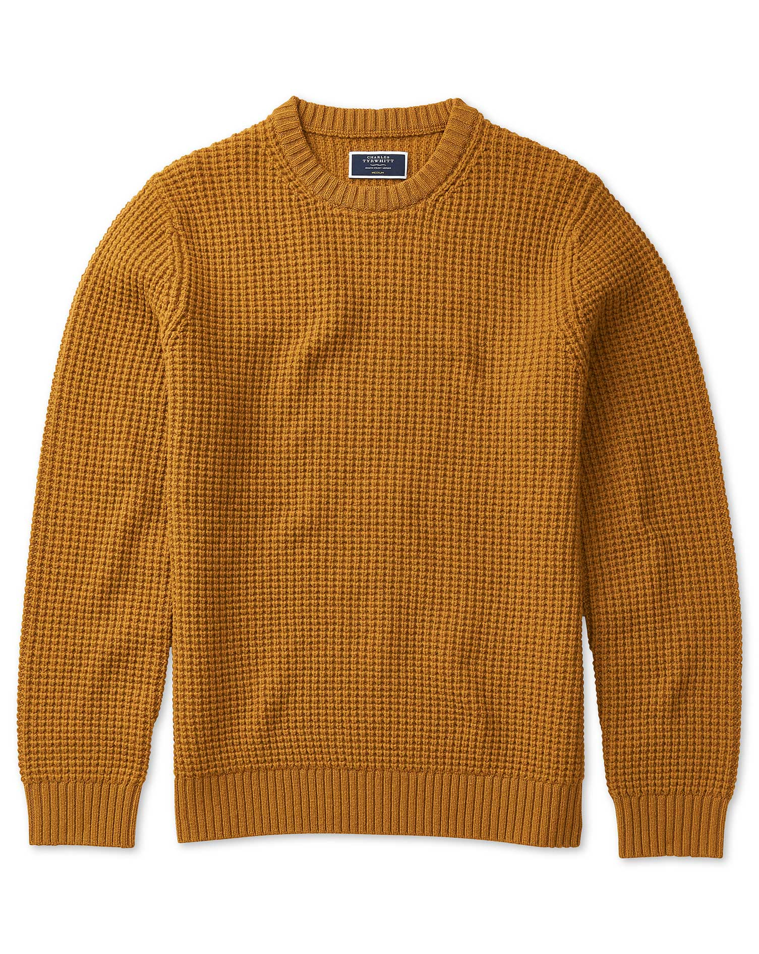 100Percent Merino Wool Mustard Chunky Merino Waffle Stitch Crew Neck Jumper