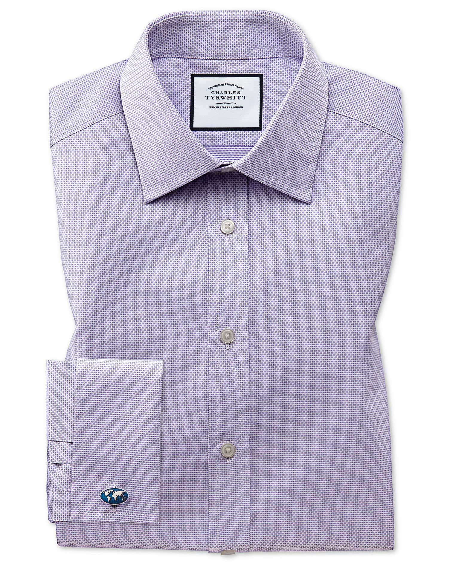 Extra Slim Fit Lilac Cube Weave Egyptian Cotton Formal Shirt Single Cuff Size 15/34 by Charles Tyrwh