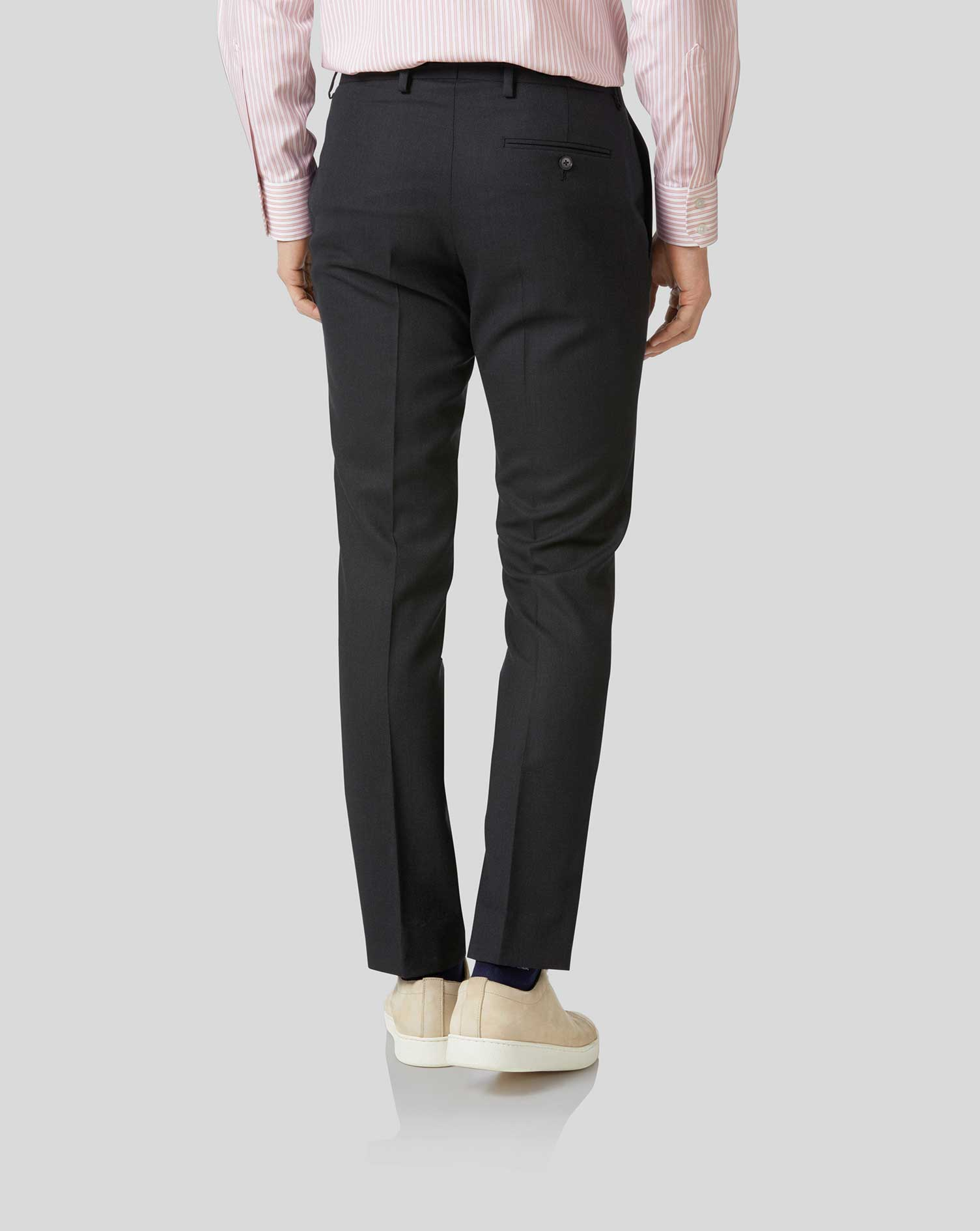 Charcoal slim fit birdseye travel suit pants