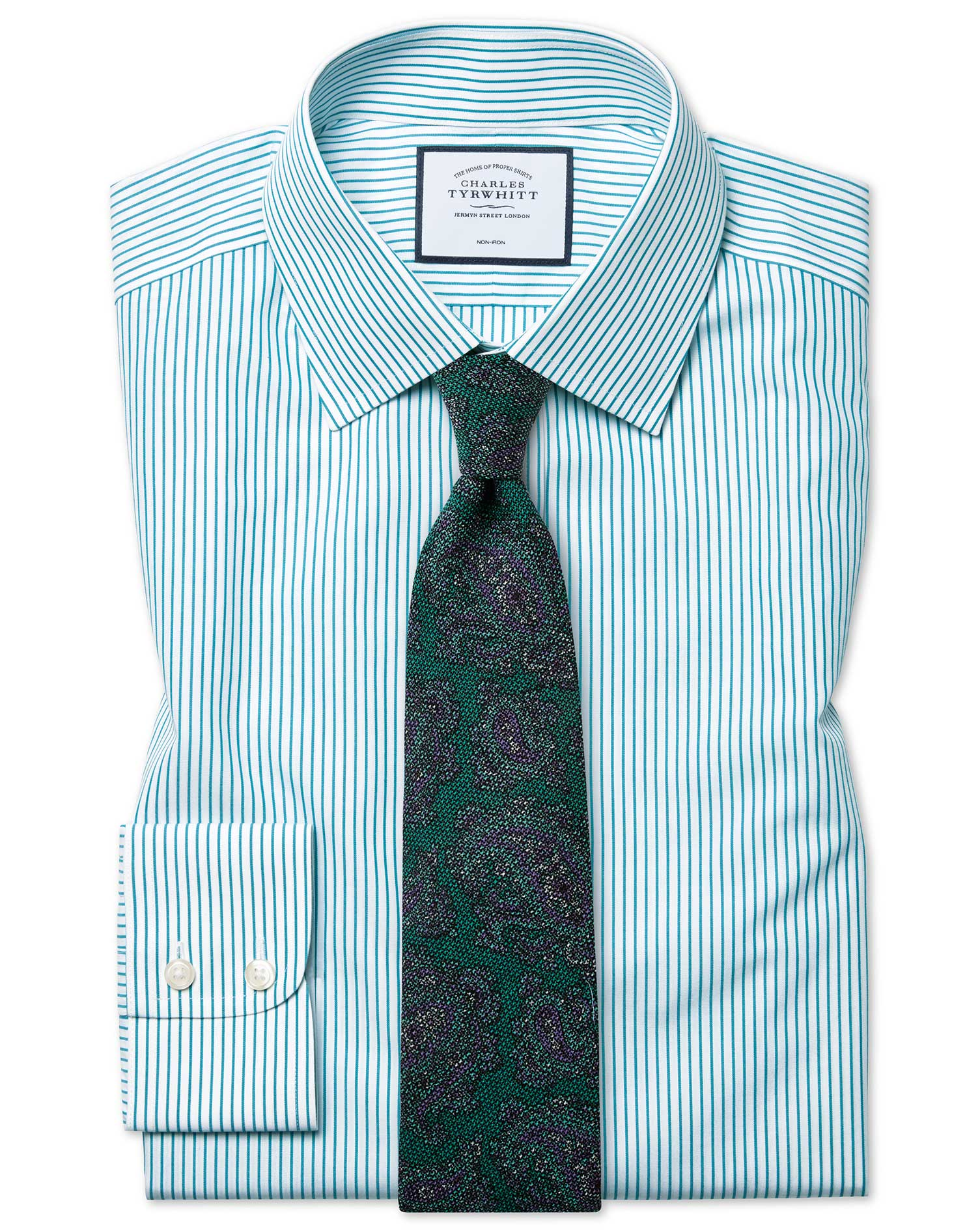 Slim Fit Non-Iron Stripe Green Cotton Formal Shirt Double Cuff Size 17/37 by Charles Tyrwhitt