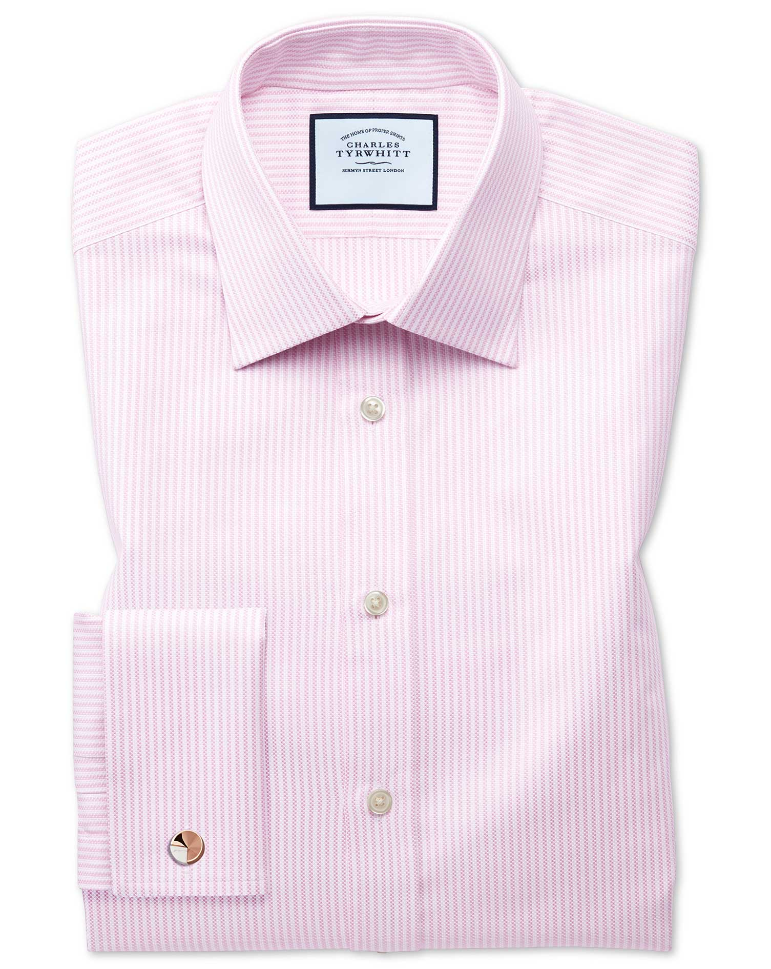 Classic Fit Egyptian Cotton Royal Oxford Pink and White Stripe Formal Shirt Double Cuff Size 15.5/33