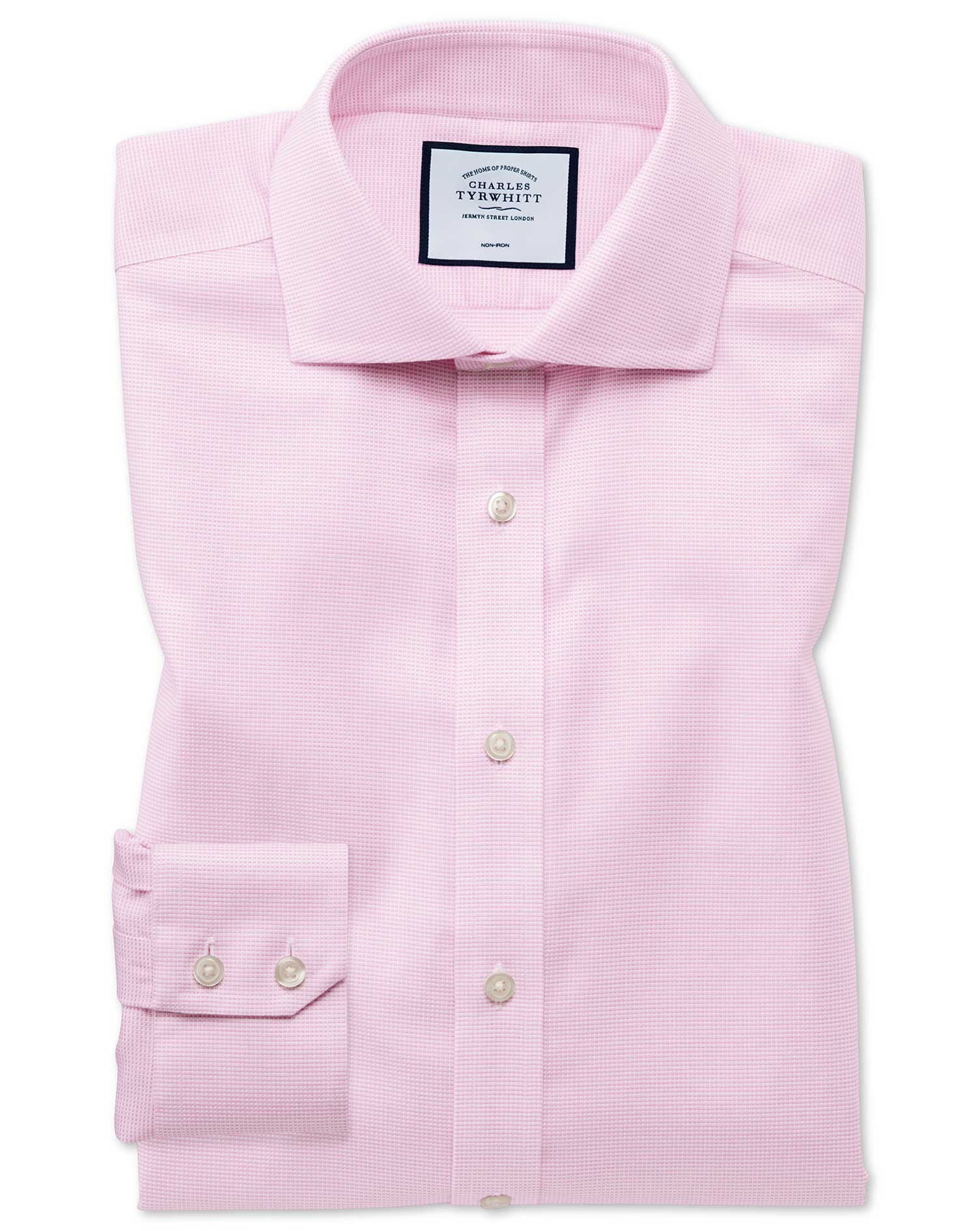 Extra Slim Fit Non-Iron Cotton Stretch Oxford Pink Formal Shirt Single Cuff Size 16.5/36 by Charles