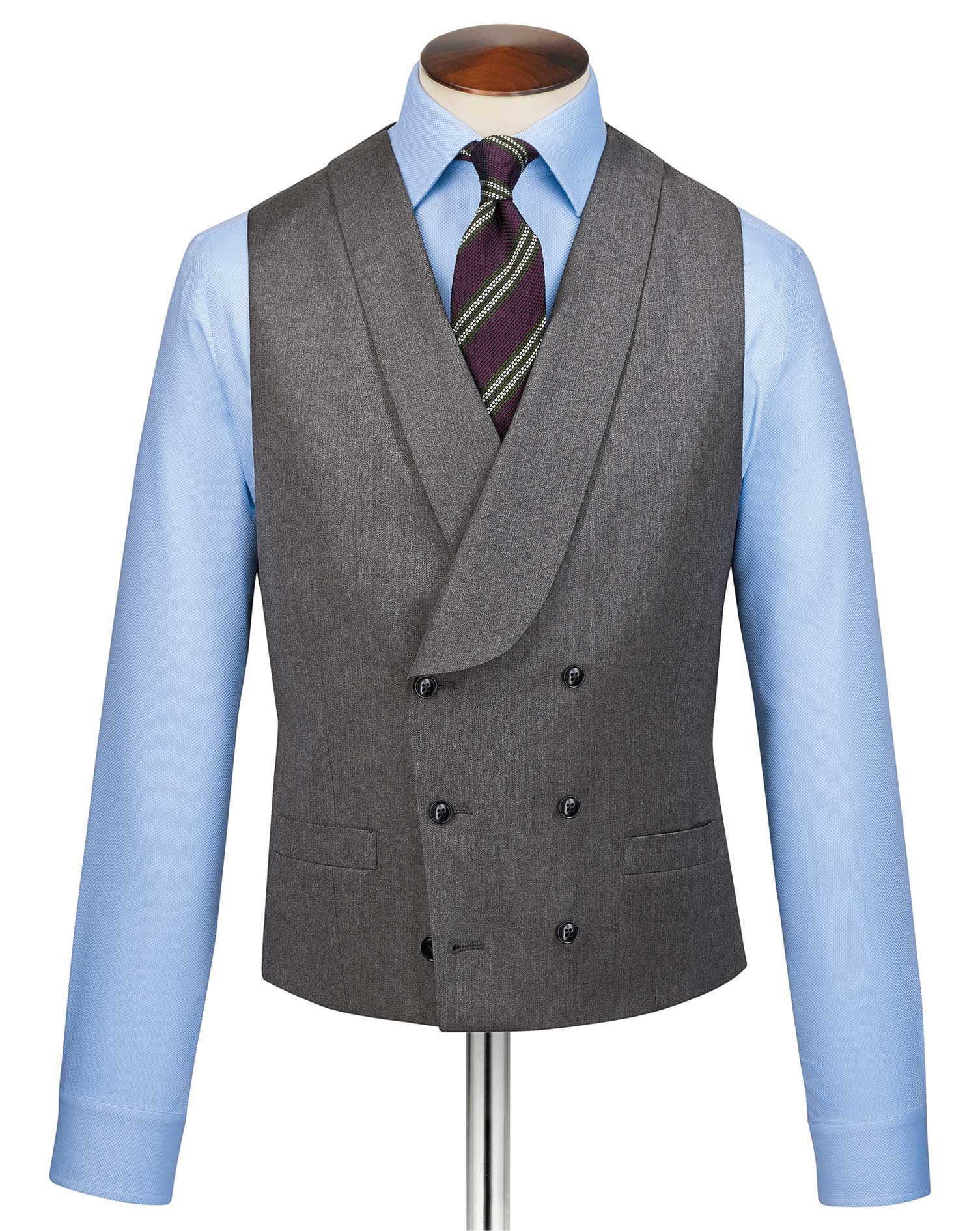Grey adjustable fit Italian twill luxury suit vest