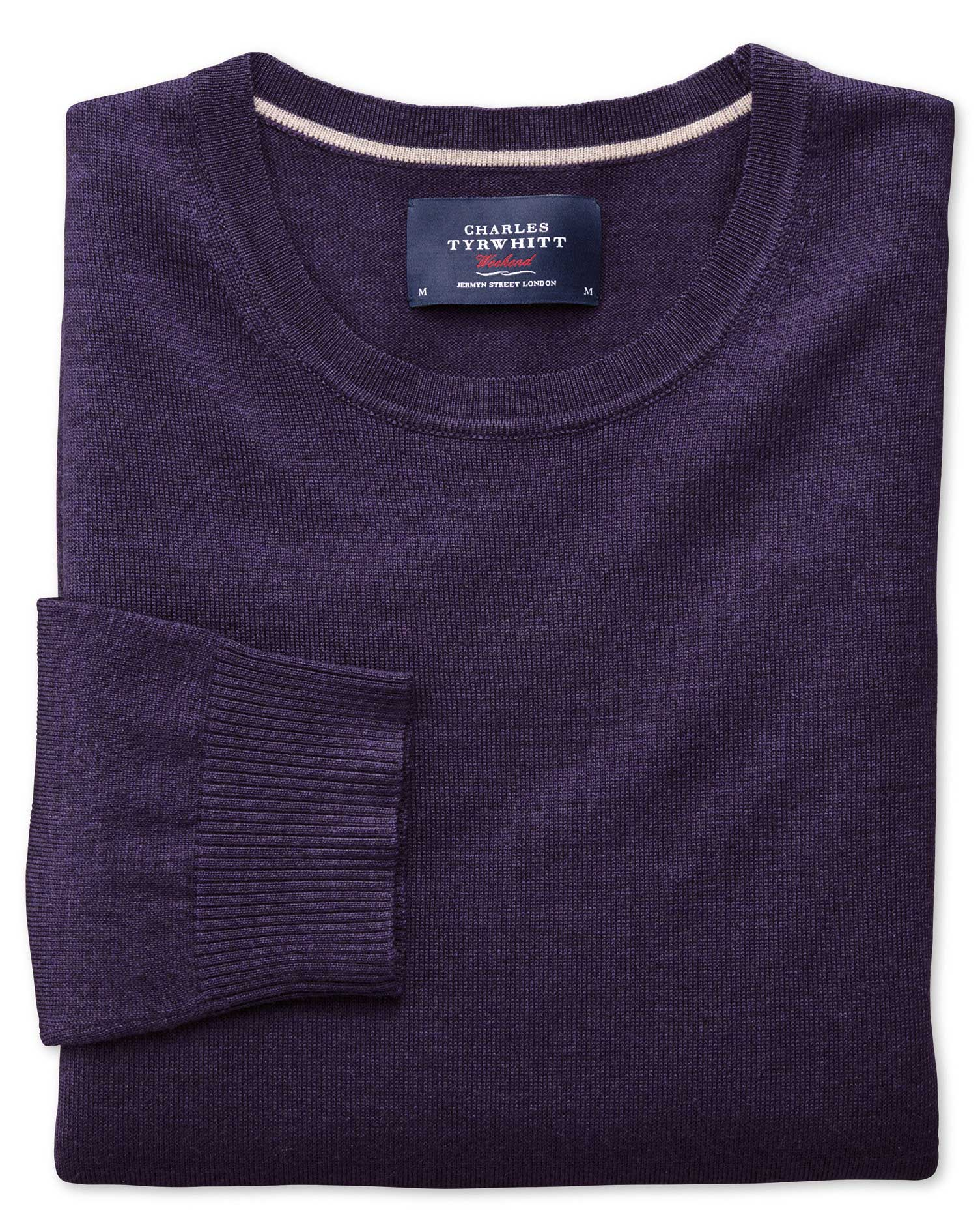 Purple Merino Wool Crew Neck Jumper Size XL by Charles Tyrwhitt